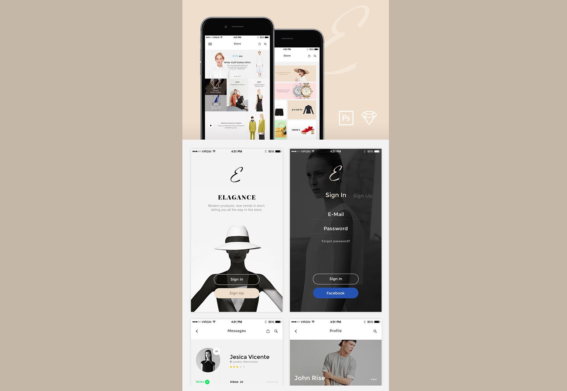 Elegance: Soft Fashion Schemed iOS UI Kit