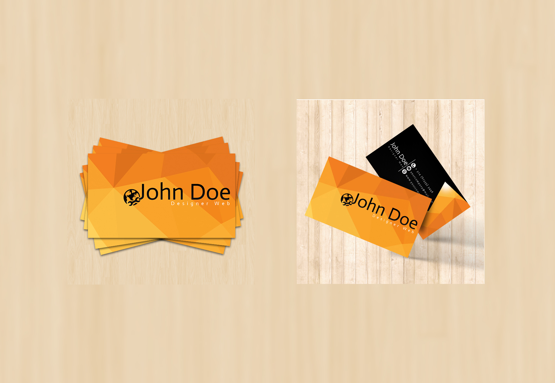 Geometric Low-Poly Background Business Card Template