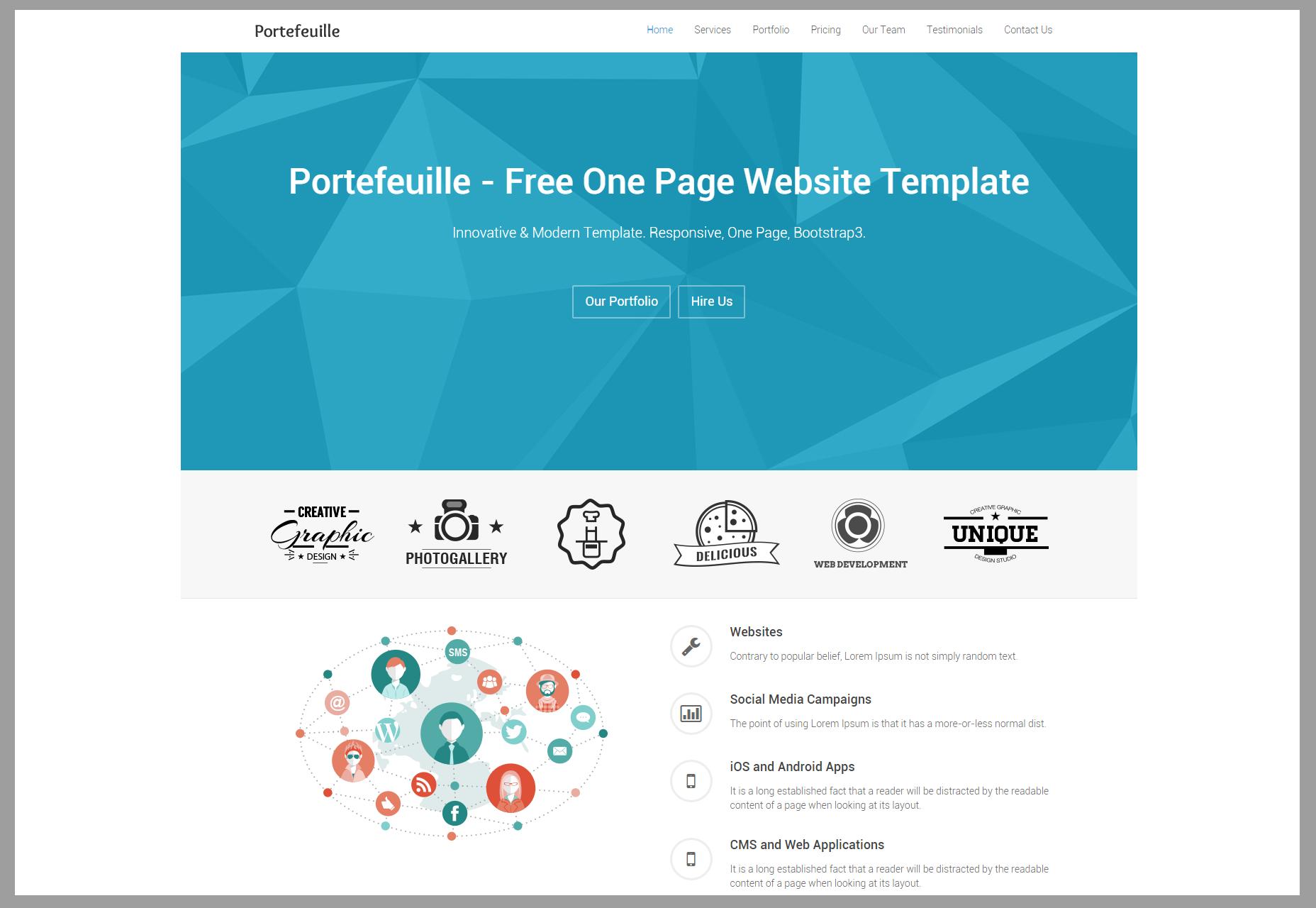 Portefeuille: One-page Portfolio HTML Theme