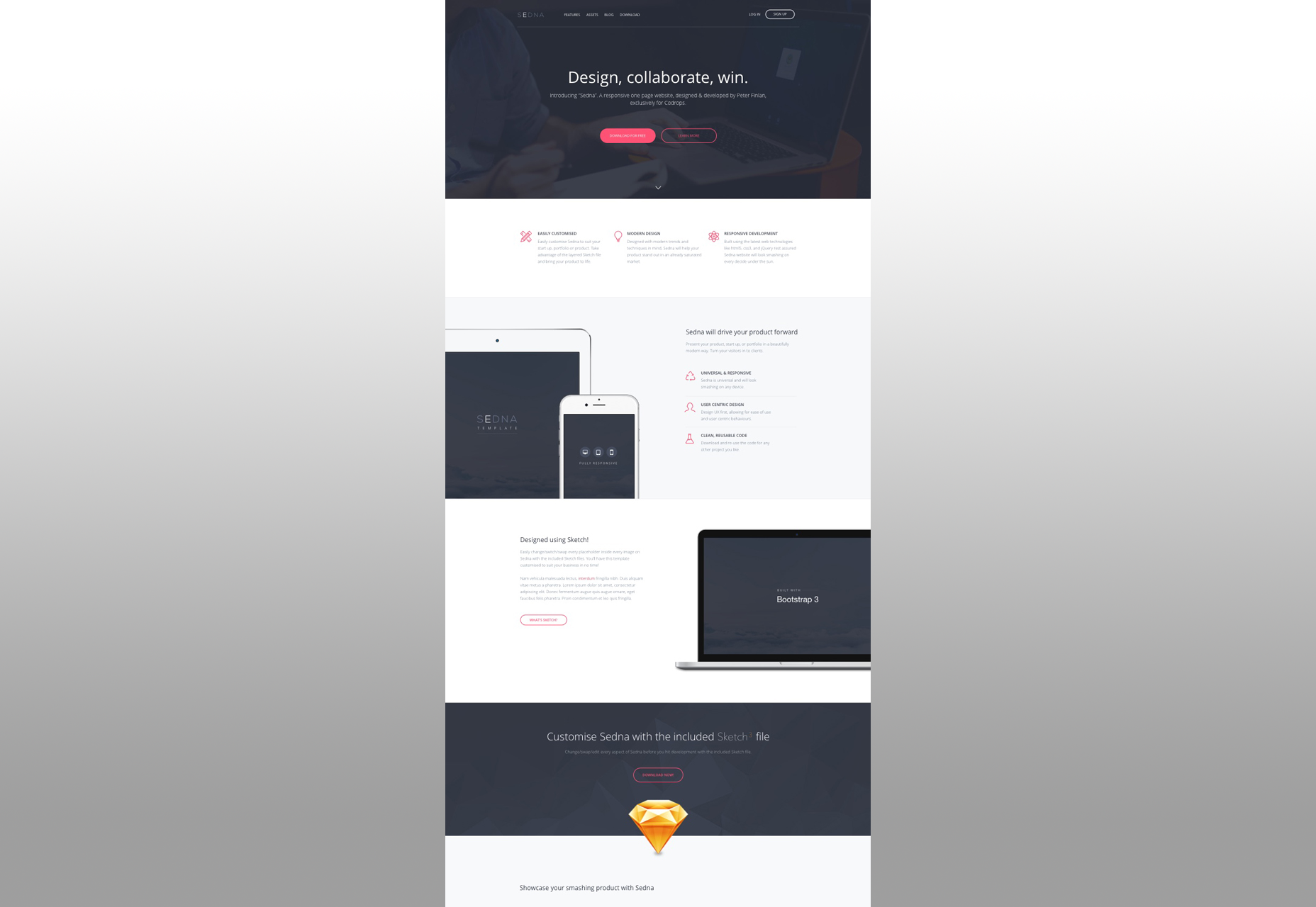Sedna: One Page Website HTML & Sketch Theme