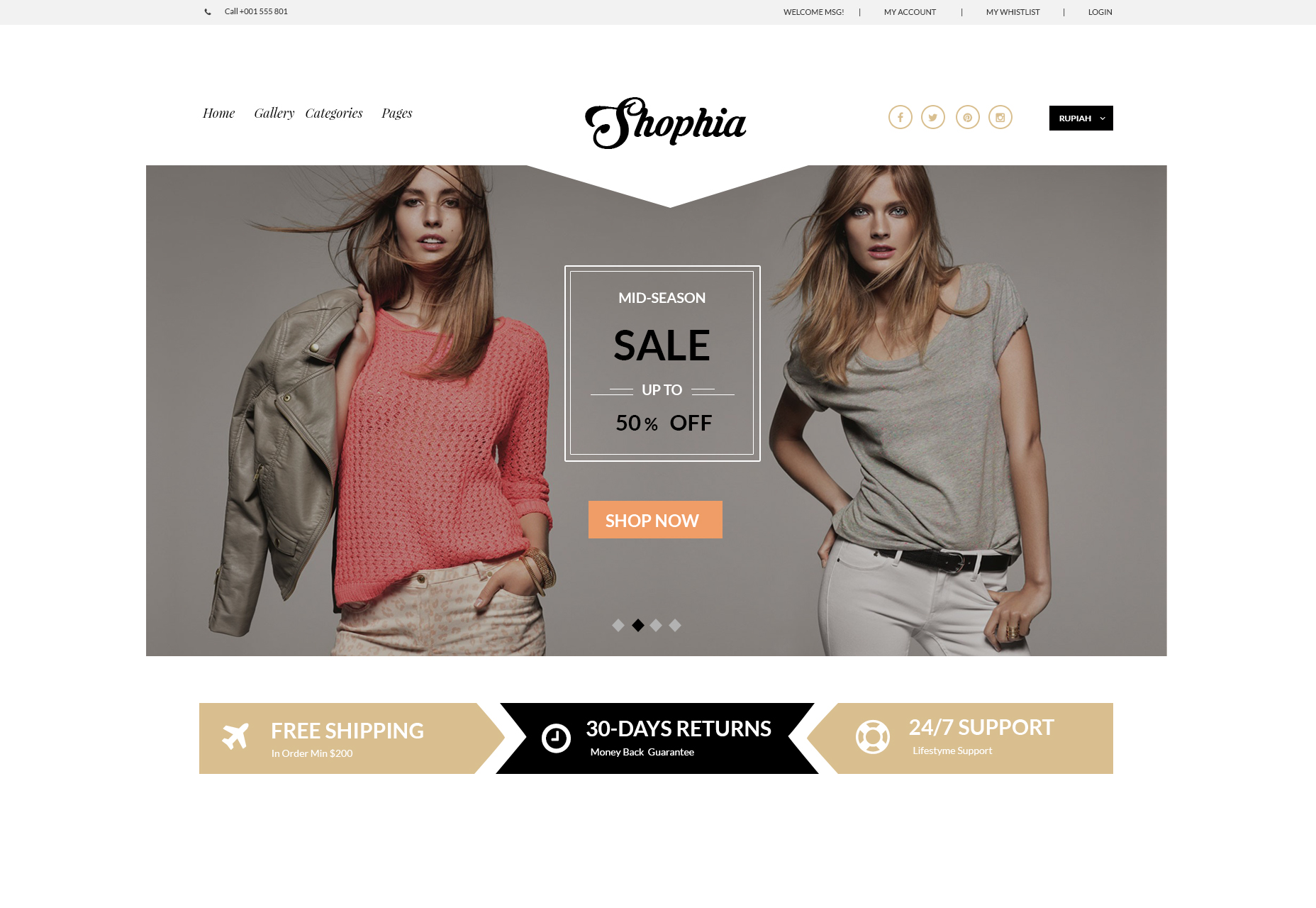 Shophia: Free ECommerce Website Theme