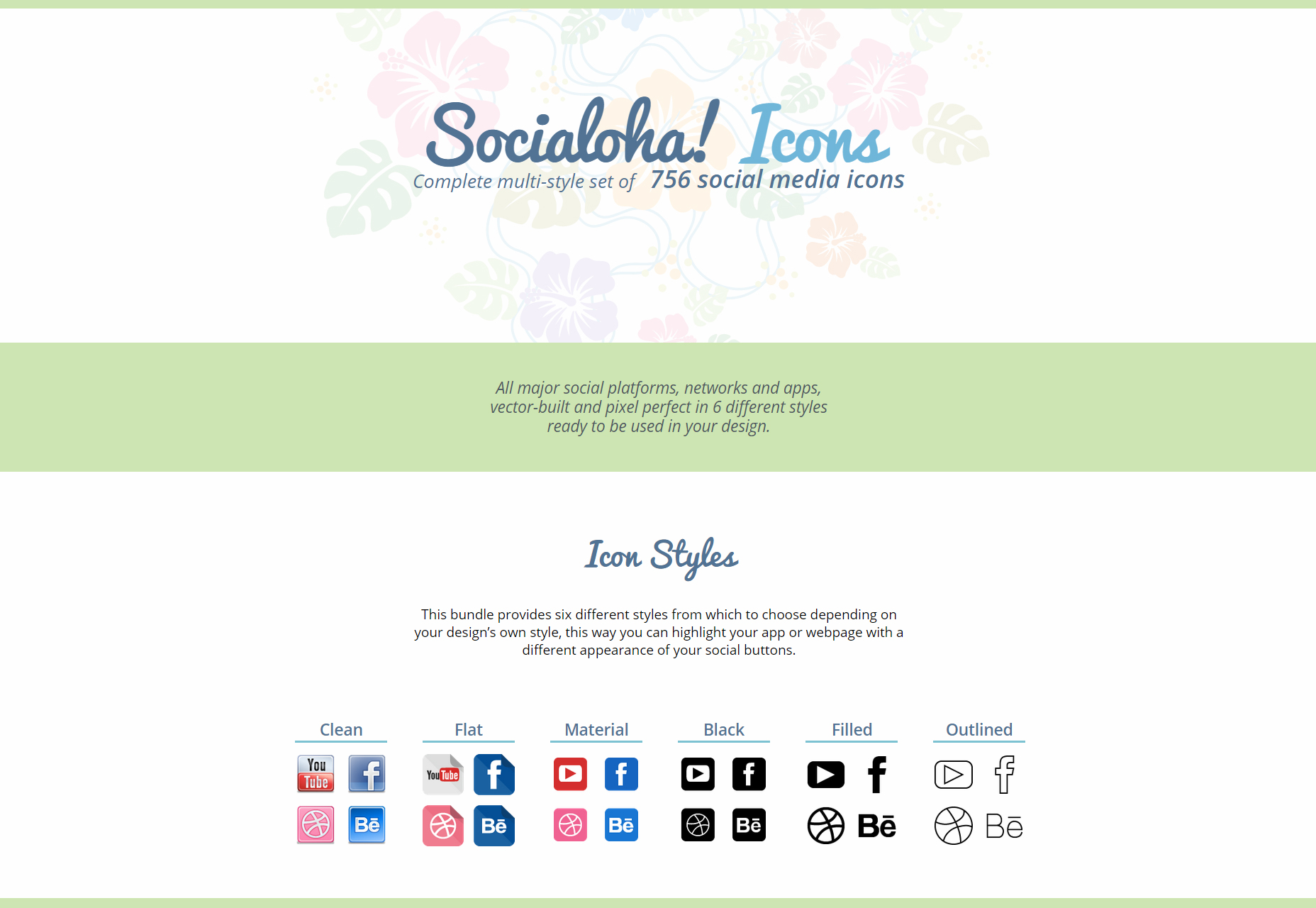Socialoha: A Set of 756 Multi-styled Social Icons