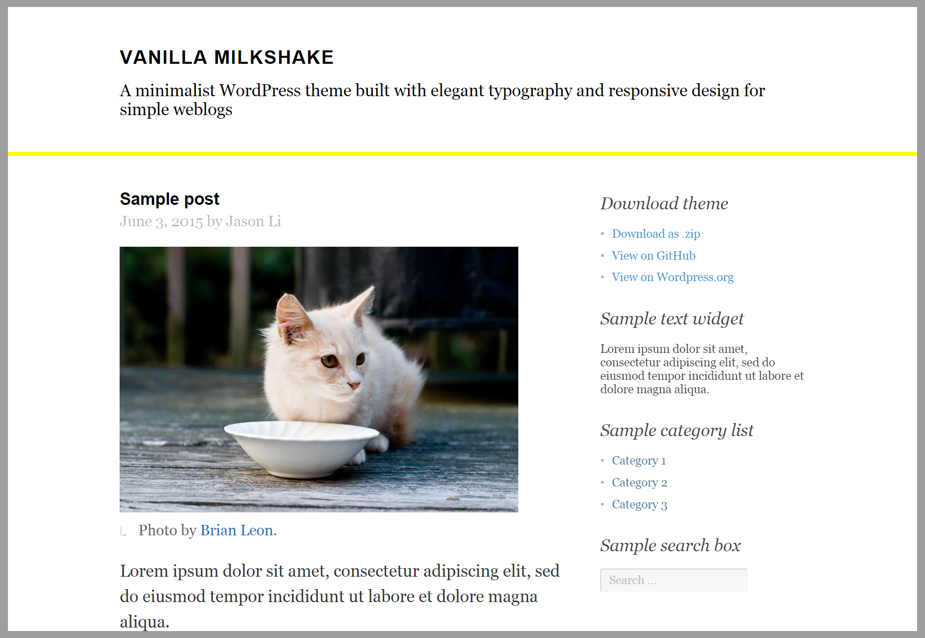 Vanilla Milkshake: Simple Blogging WordPress Theme