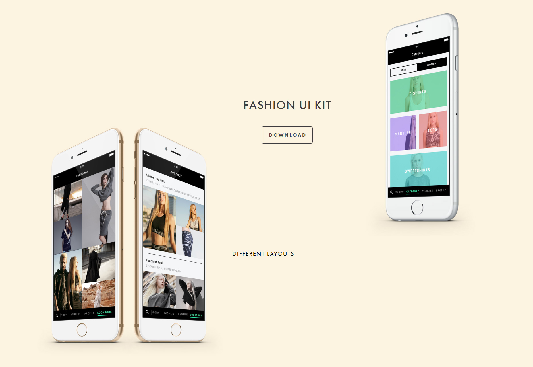 Fashion-focused iPhone Sketch UI Kit