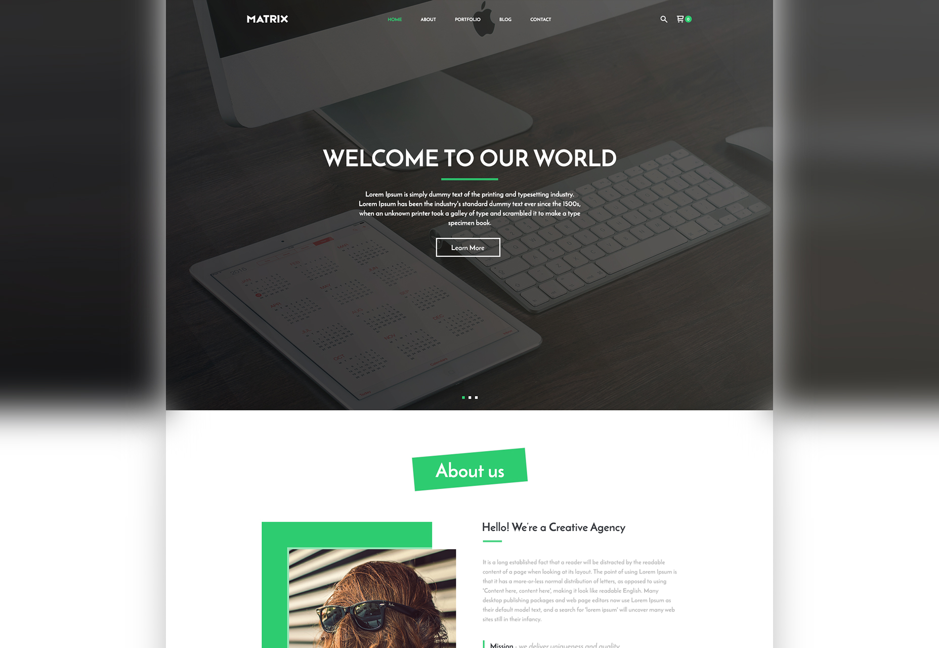 Matrix: Clean & Minimal Landing Page PSD Theme