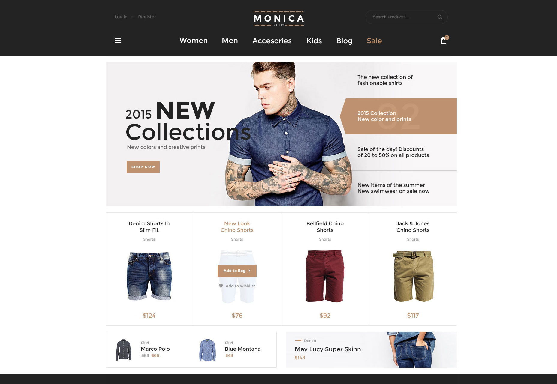 Monica:  Web ECommerce Web UI Kit Freebie