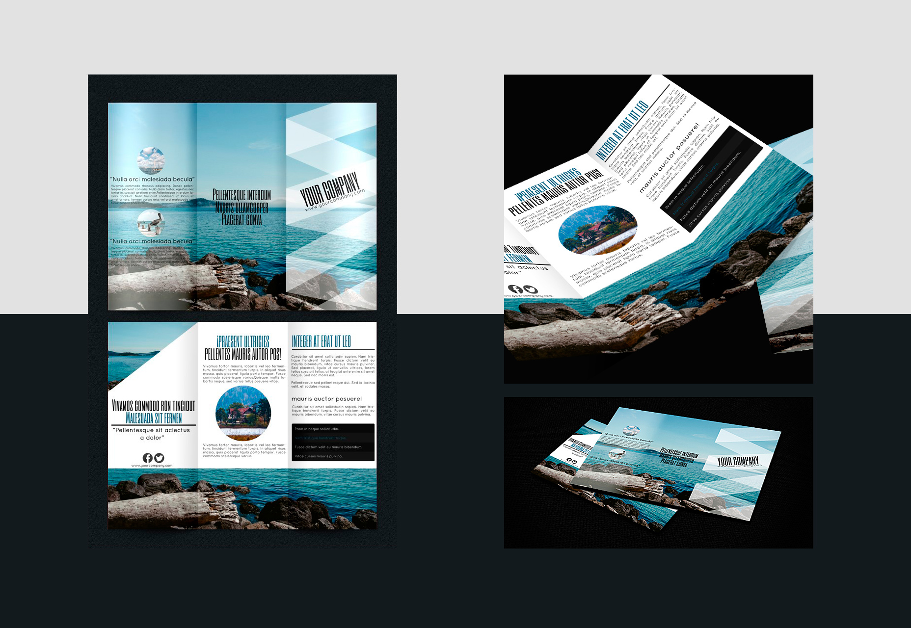 Tourism-schemed Trifold Brochure PSD, INDD & Ai  Template