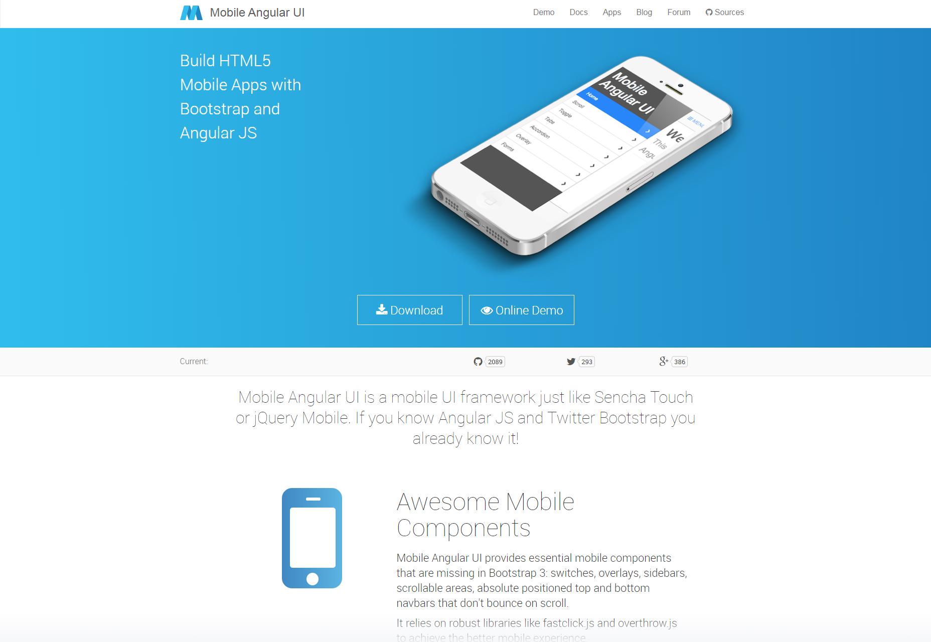 AngularJS & Bootstrap Mobile UI Framework