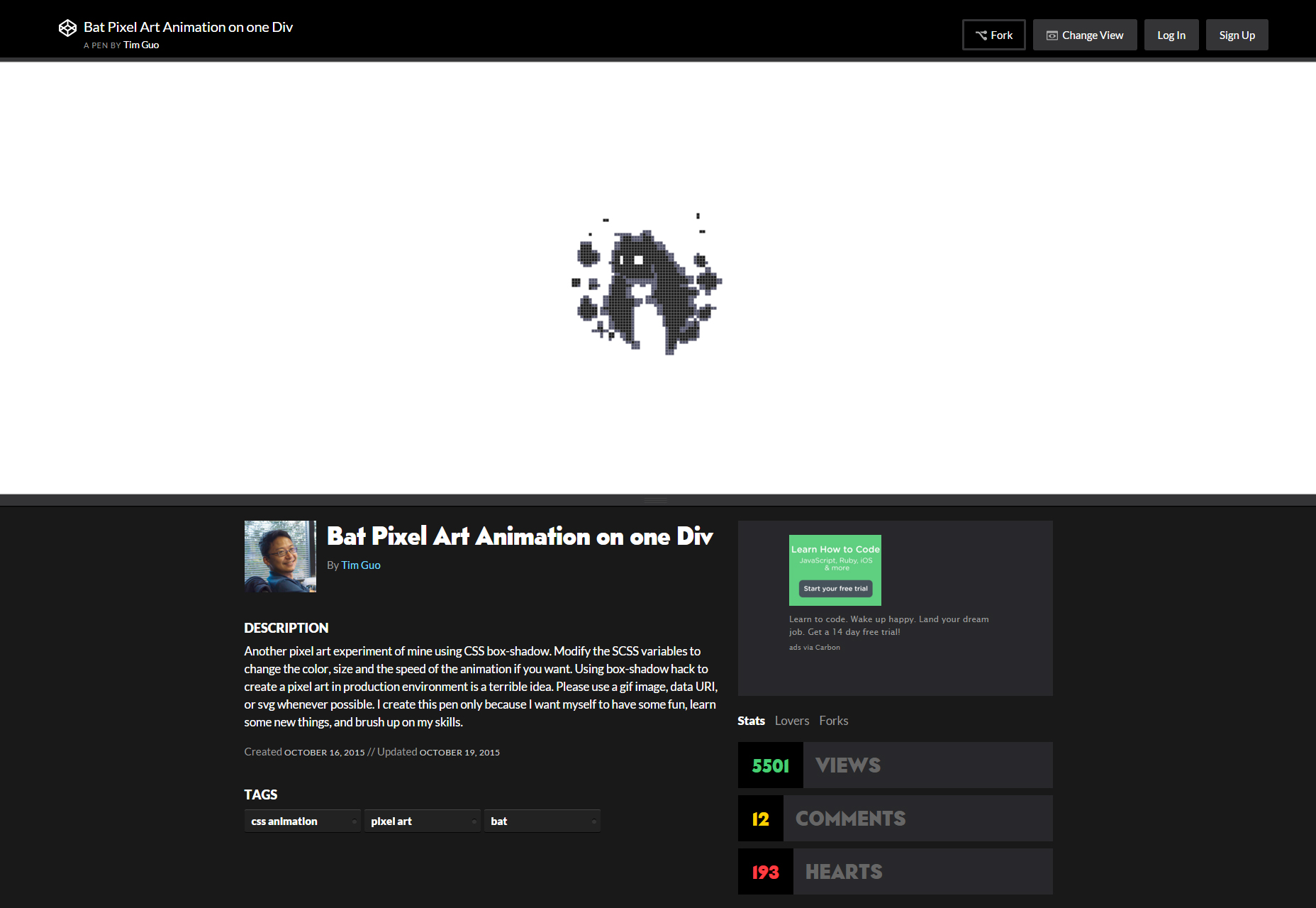 Bat Pixel Style CSS Animation