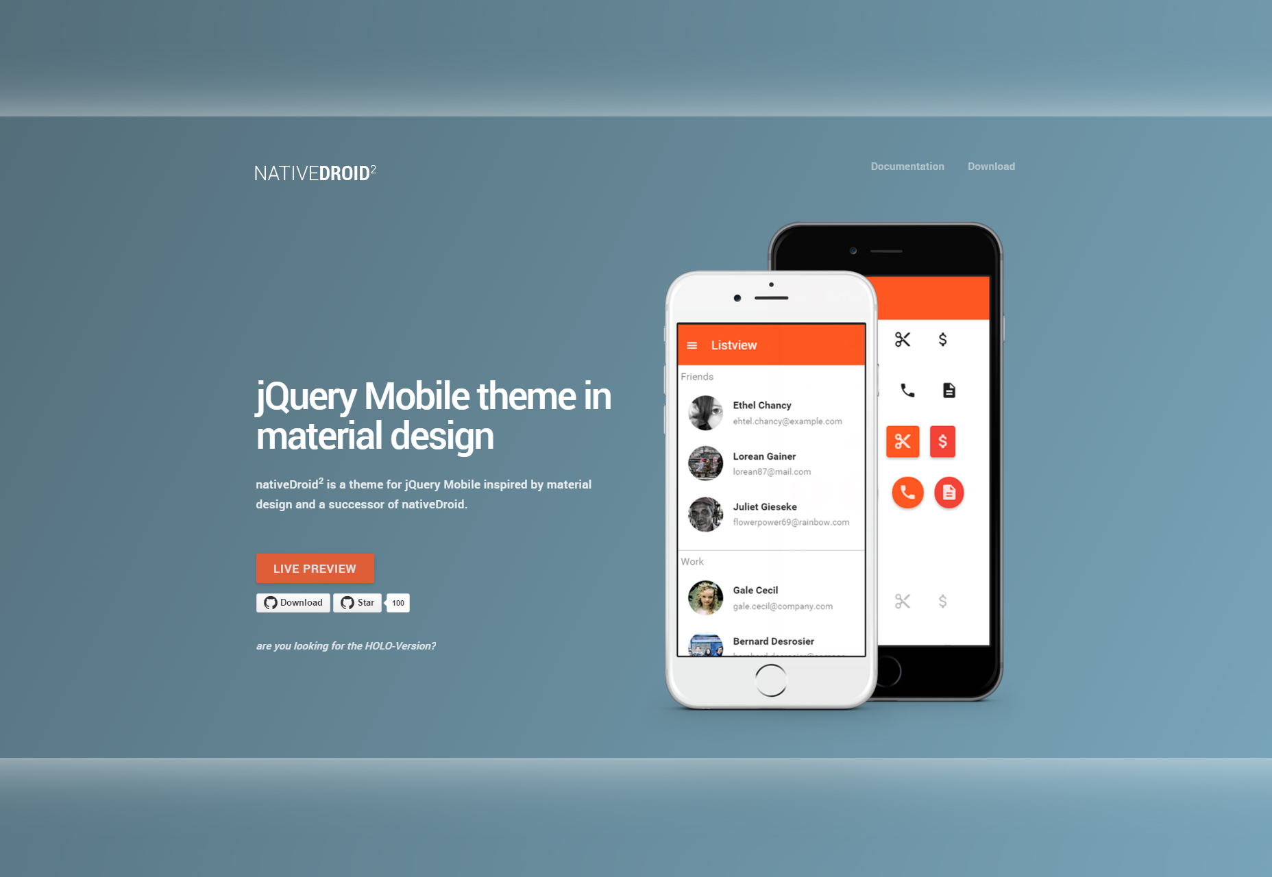 NativeDroid2: Material Design Theme for JQuery Mobile