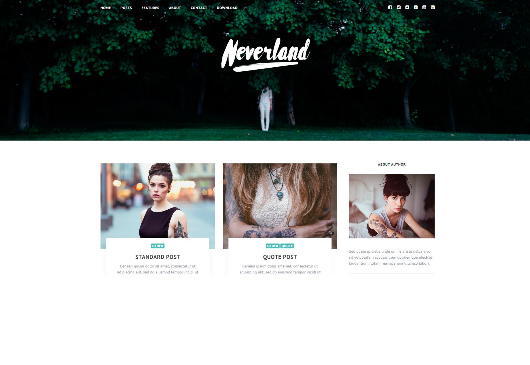 Neverland: Free Personal Blog WordPress Theme