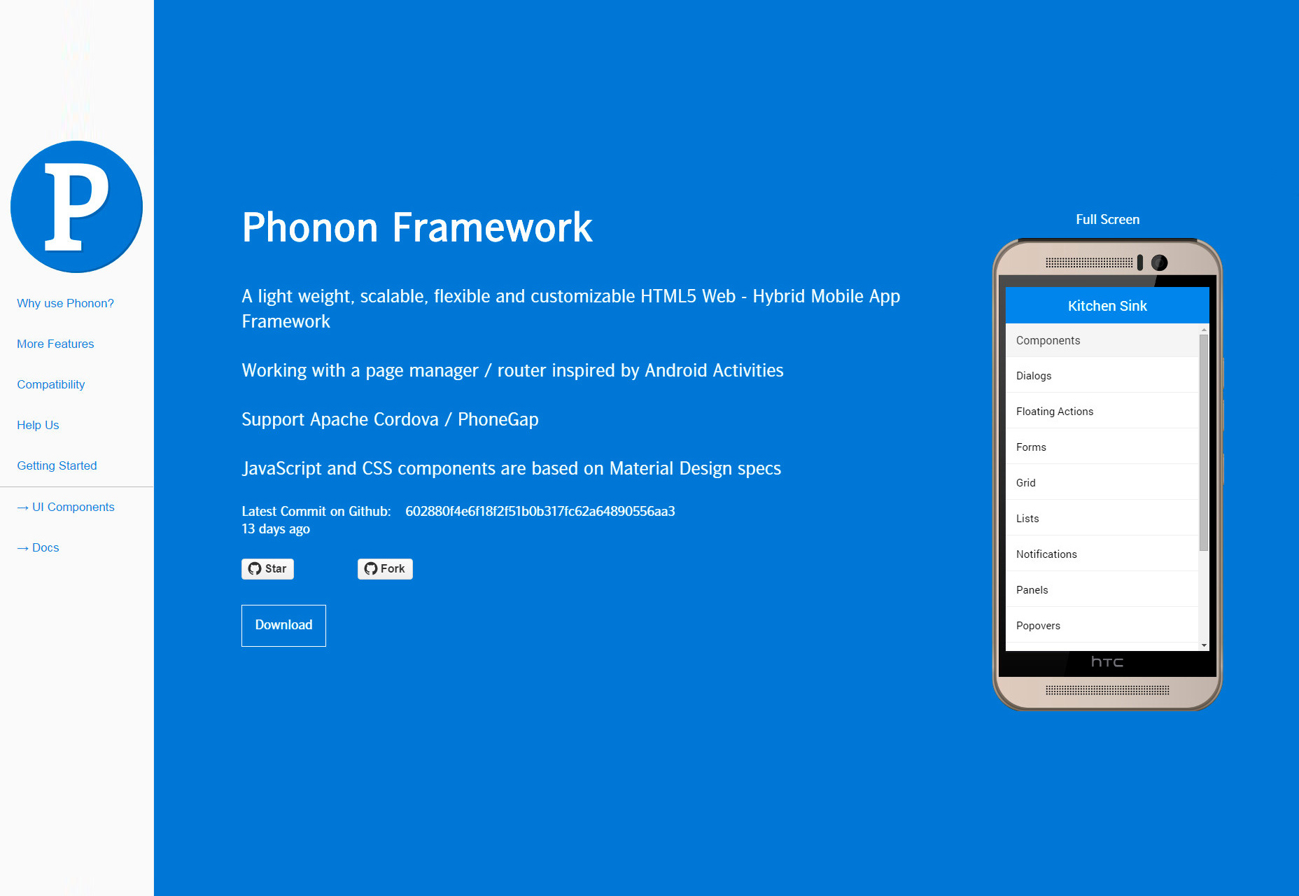 Phonon: Lightweight HTML5 Mobile Framework