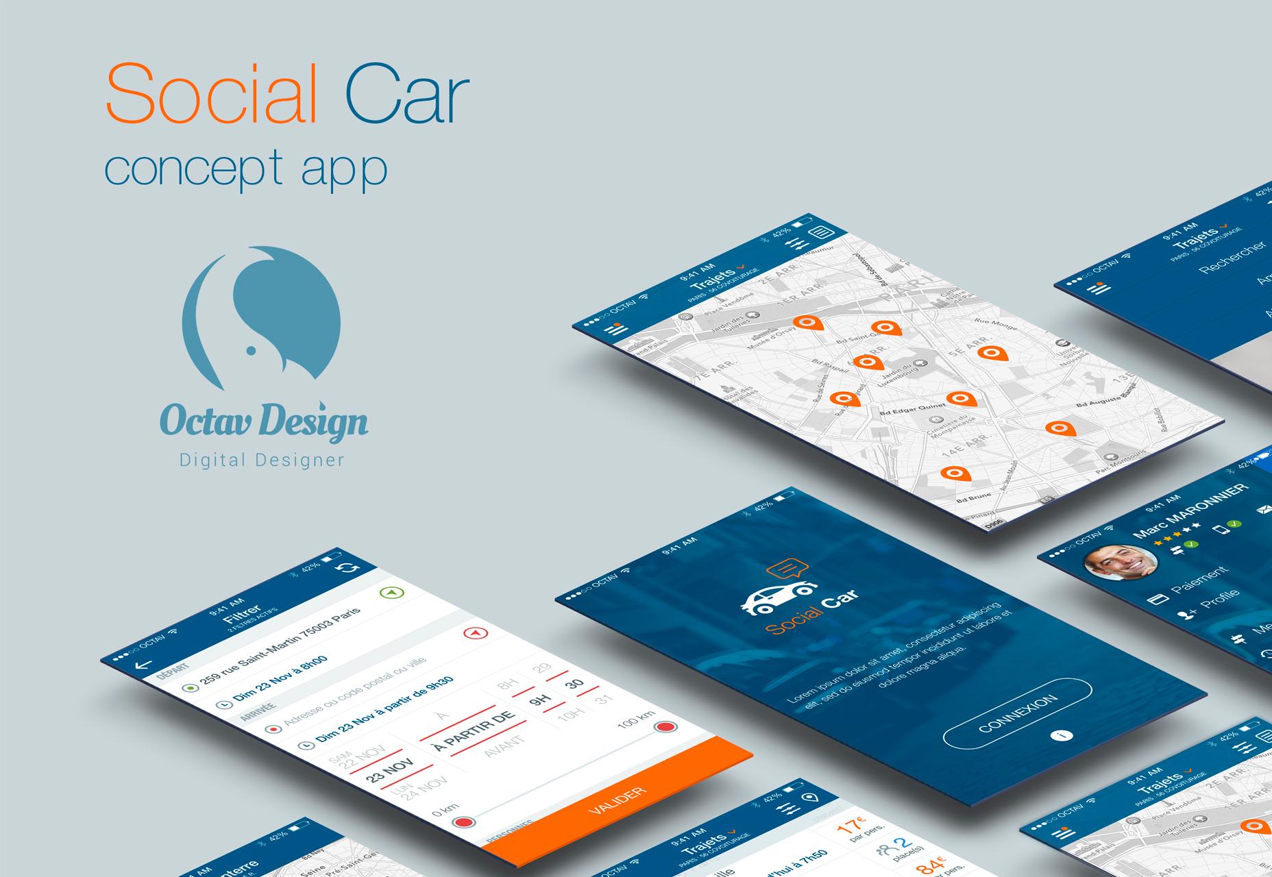 Social Car Concept Sketch UI Kit