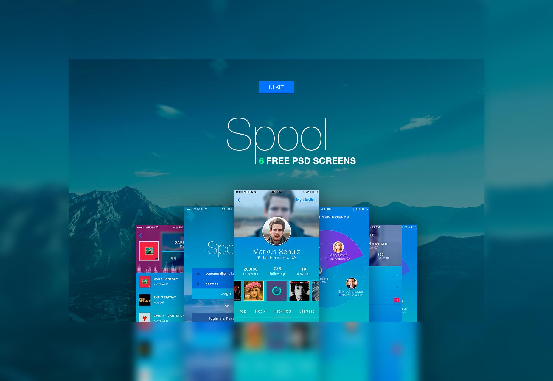 Spool: iPhone Material Design UI Kit PSD