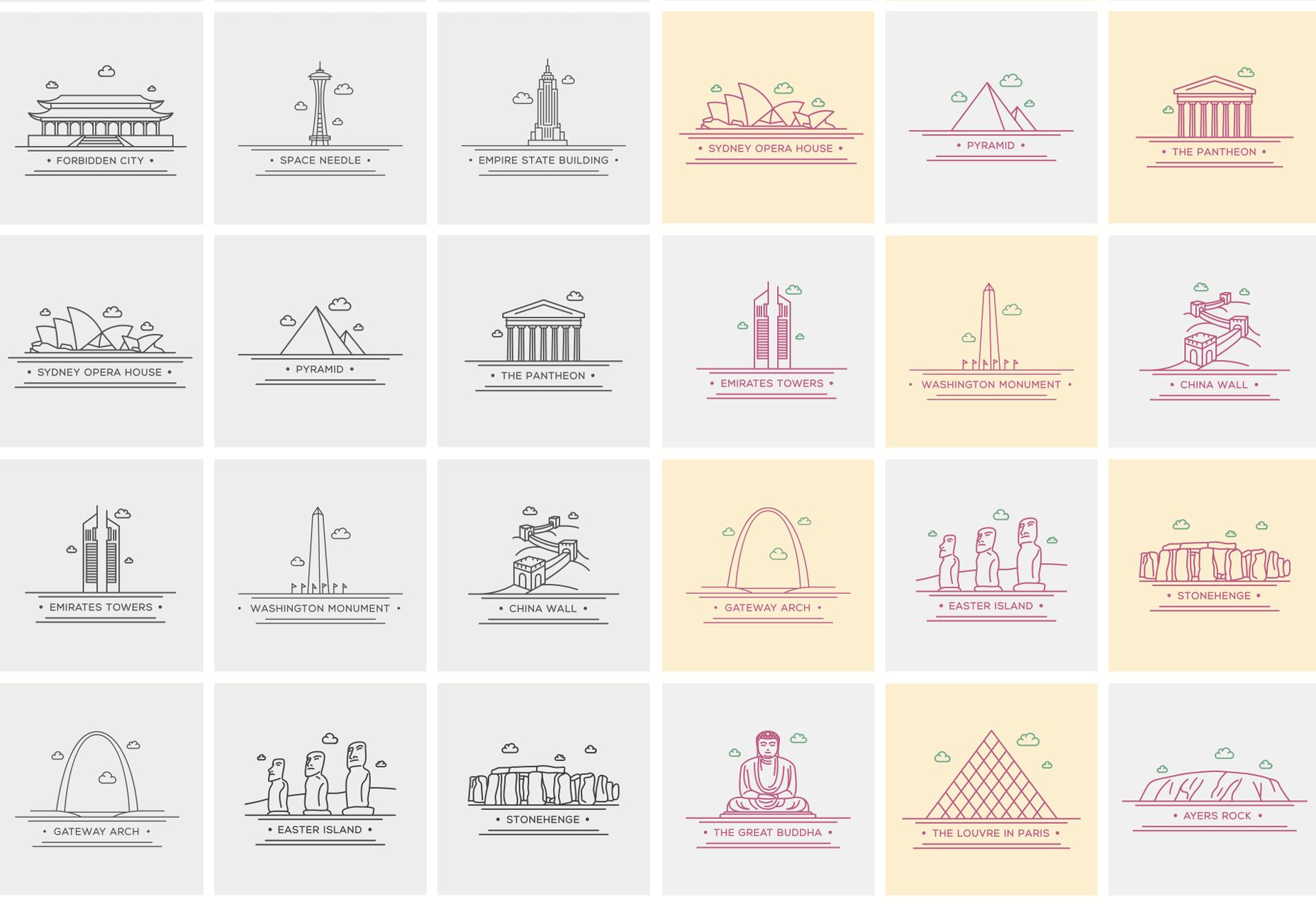 World Landmark Line Vector Icons