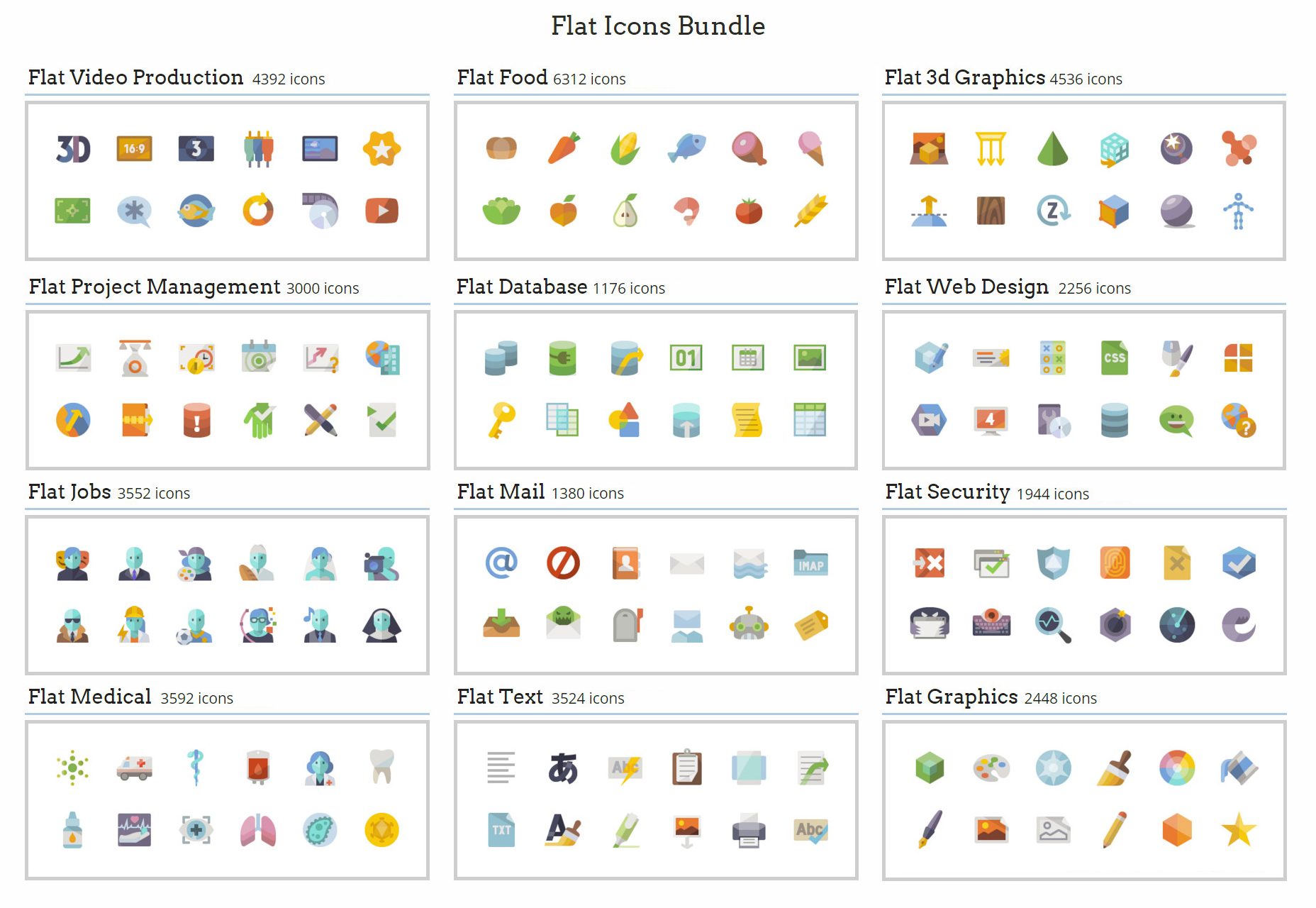 A Massive Bundle of Several Flat Icons (Over 56k in Total)