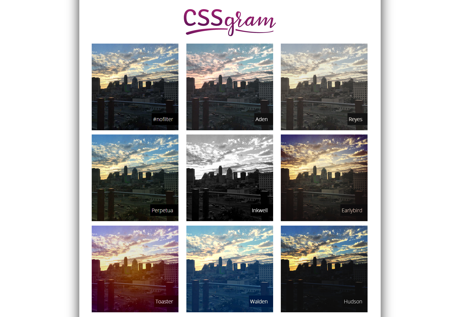 CSSGram: Instagram-inspired CSS Filters