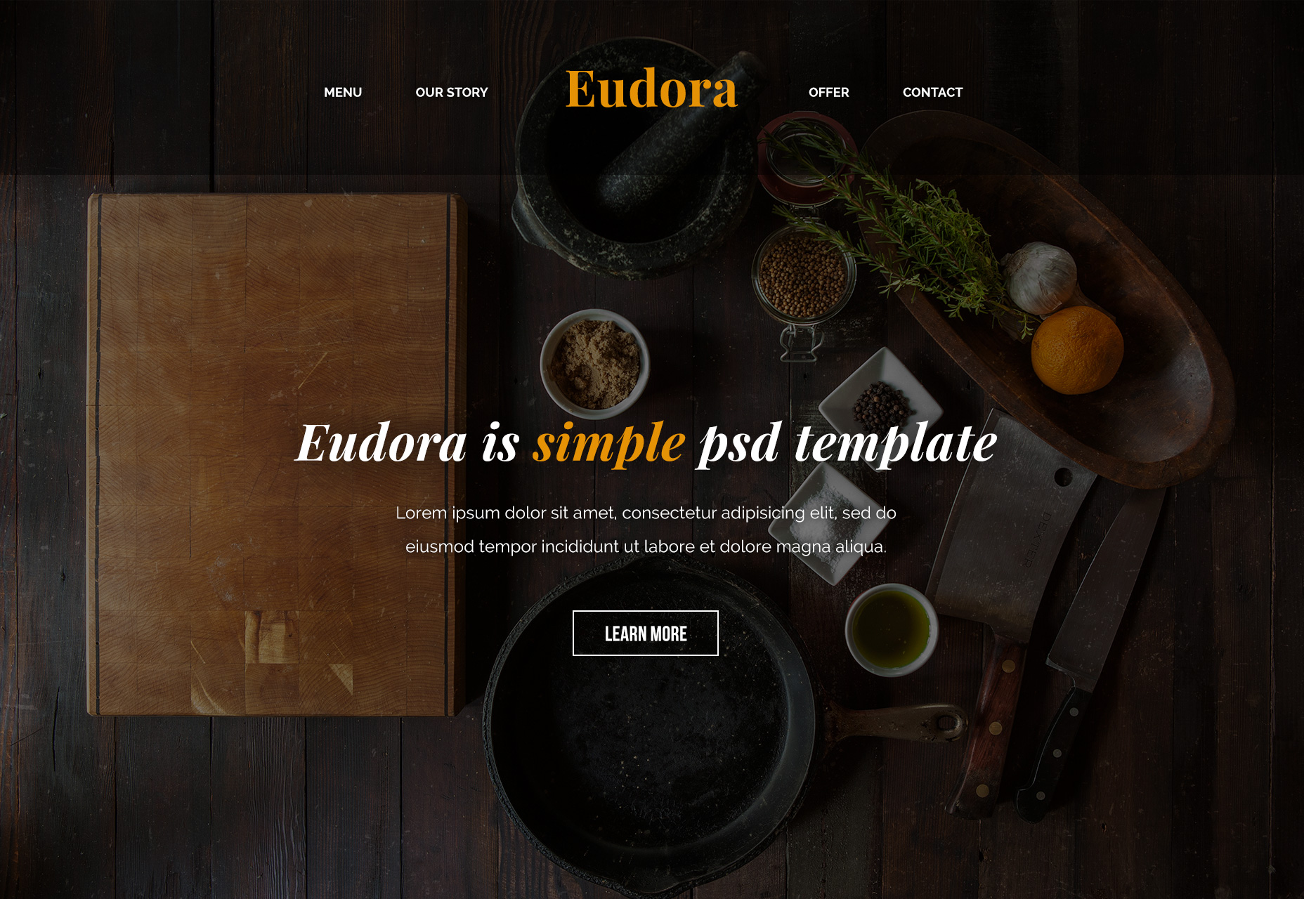 Eudora: Food-related PSD Web Template