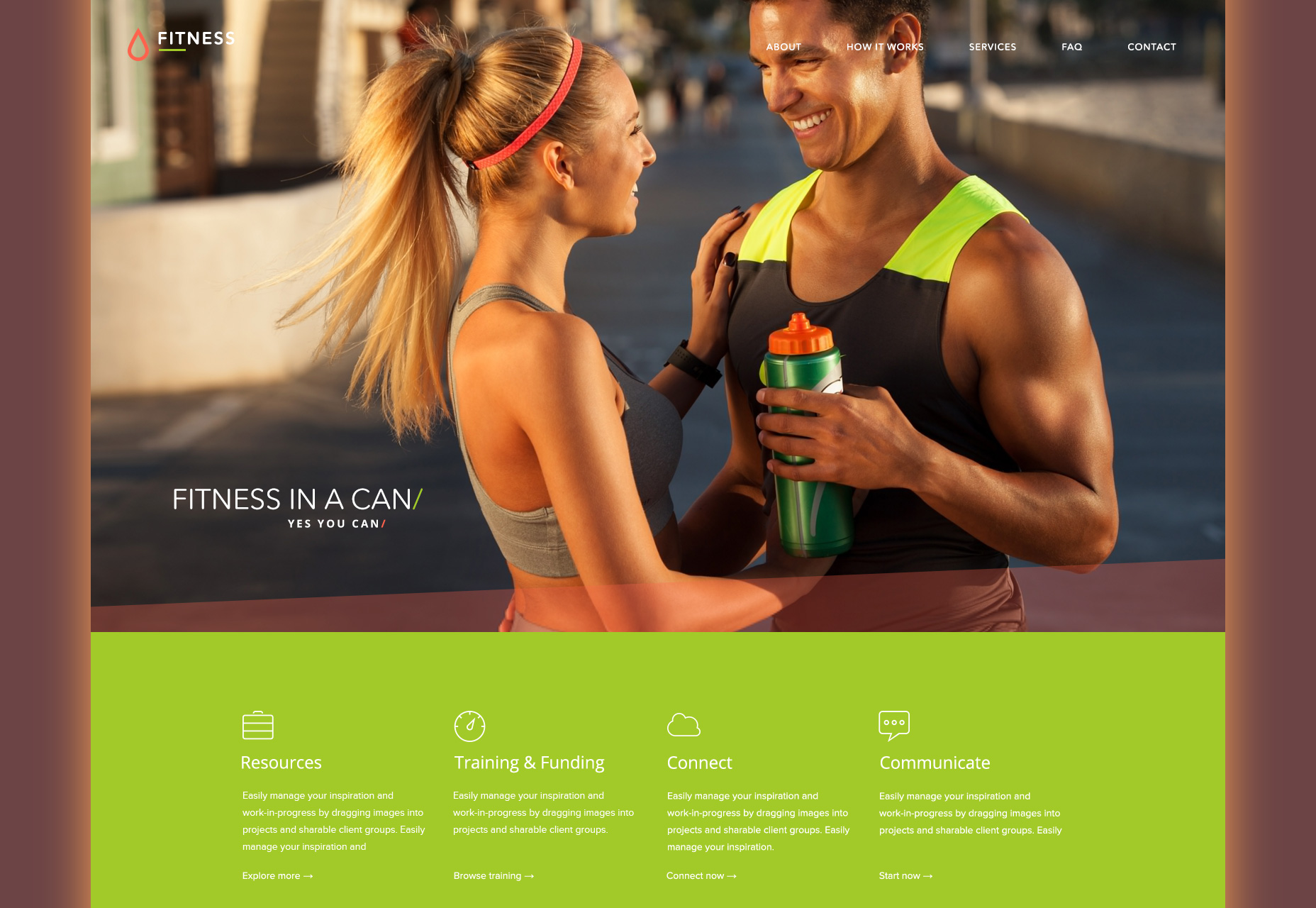 Flat Fitness PSD Web Template