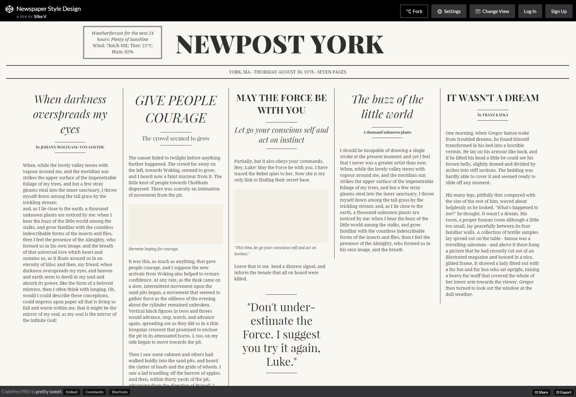 Newspaper Style Design