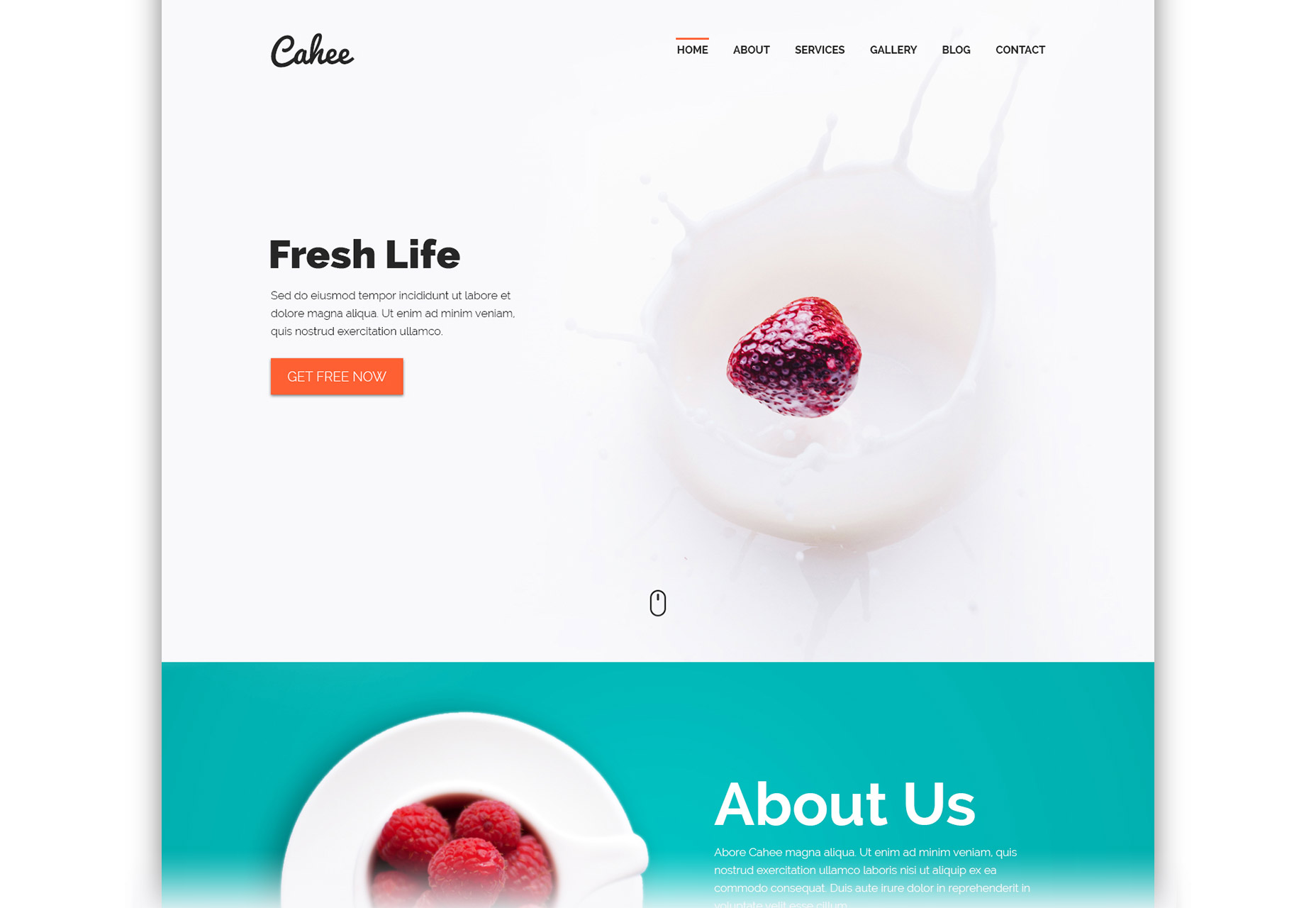 Cahee: Flat Screen-size Container Web PSD Template