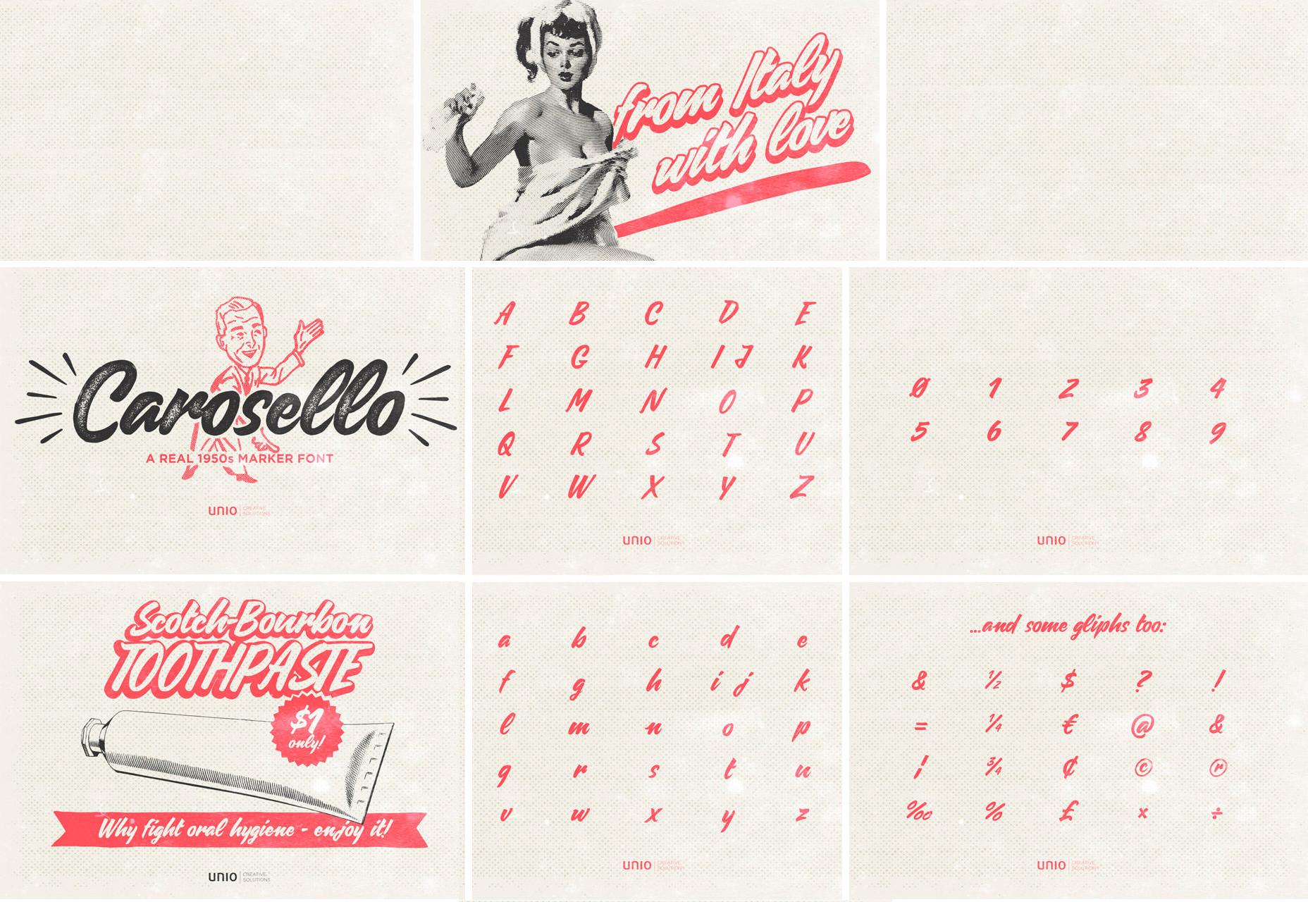 Carosello: Vintage 50's Style Poster Script Font
