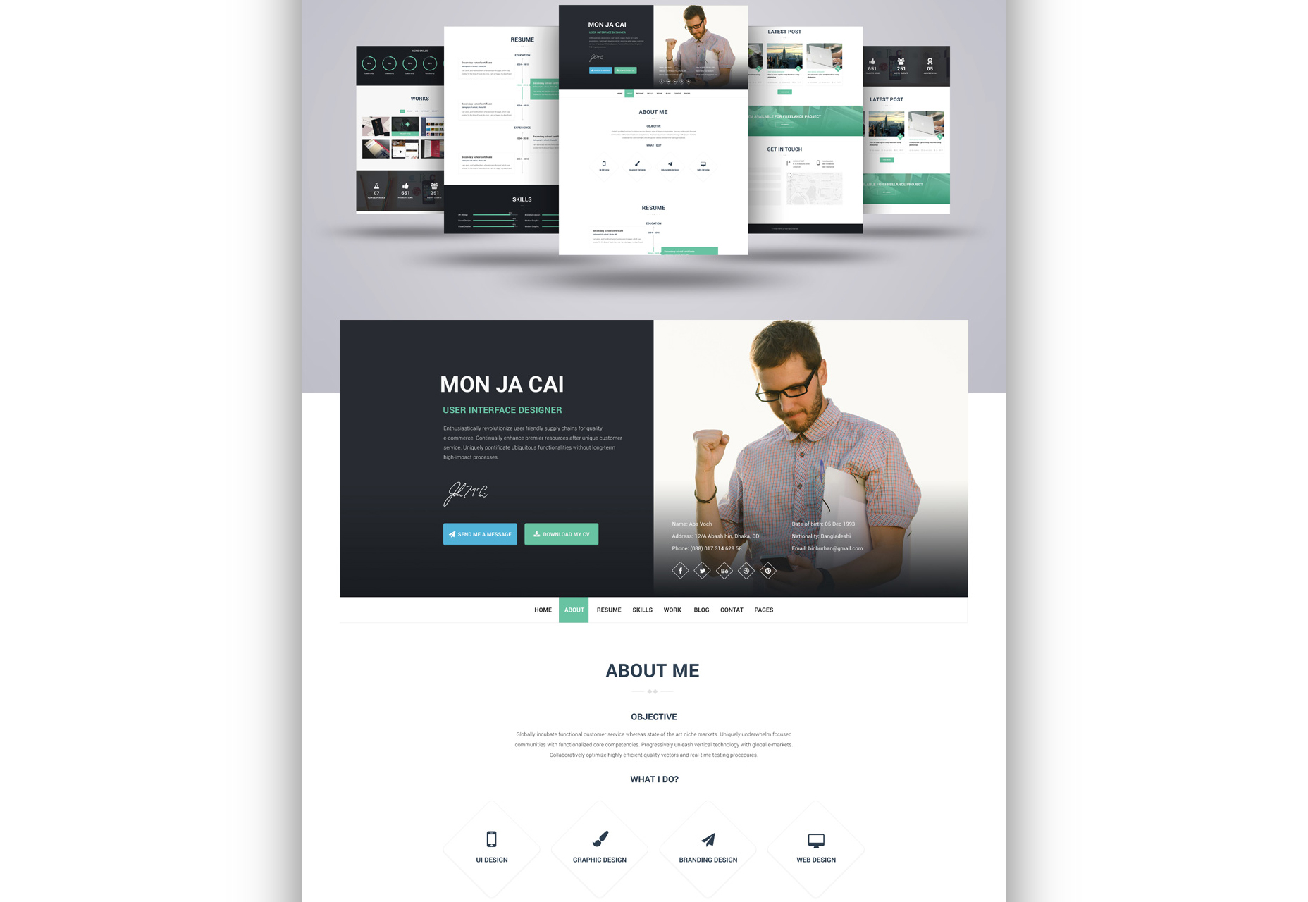 I AM X: Web Resume PSD Template