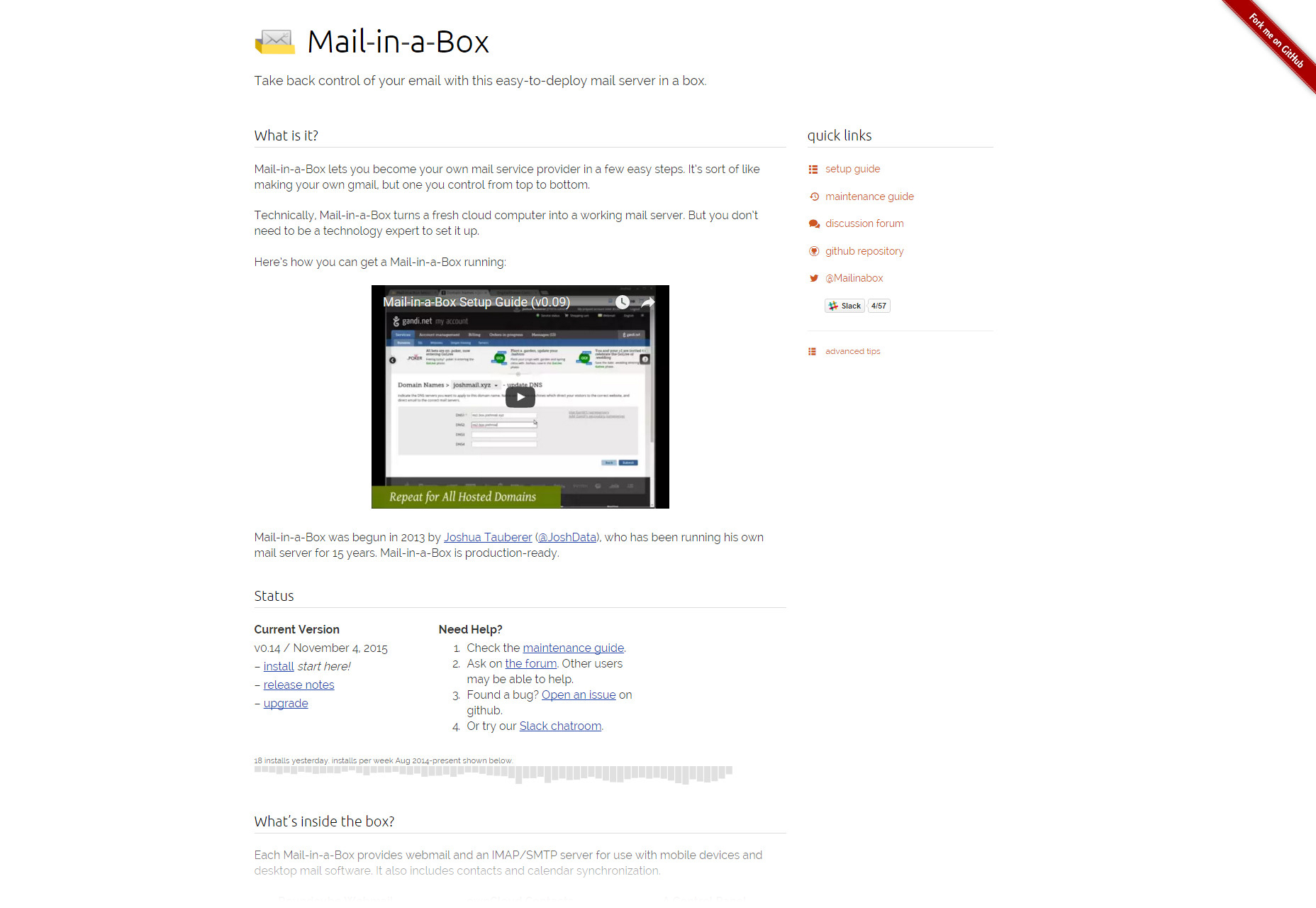 Mail in a Box: Easy-to-Drop Mail Server