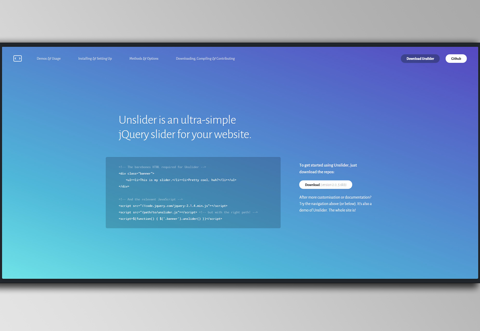 Unslider: Simple jQuery Carousel Slider