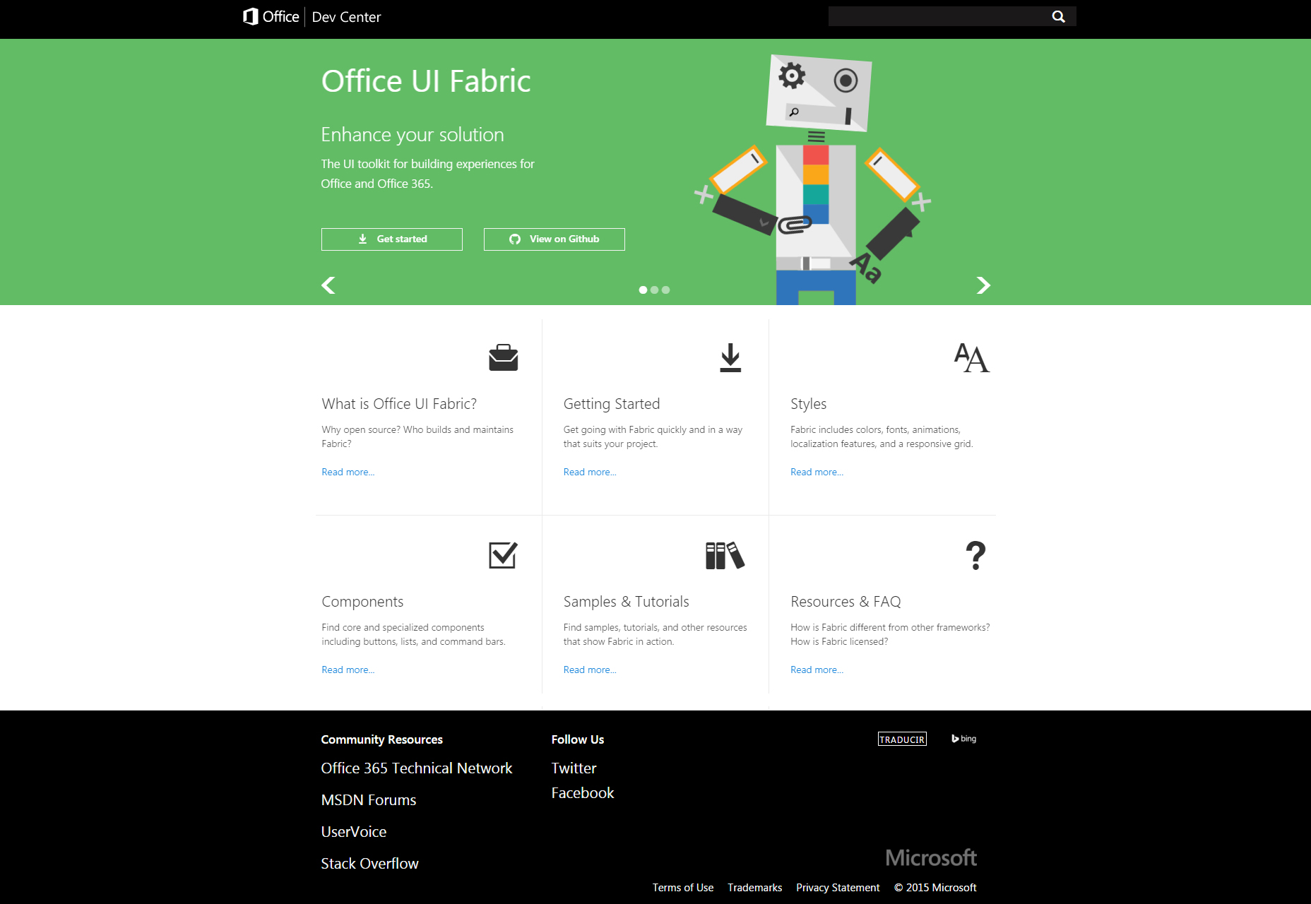 Fabric: Office 365 Experience Building UI Toolkit