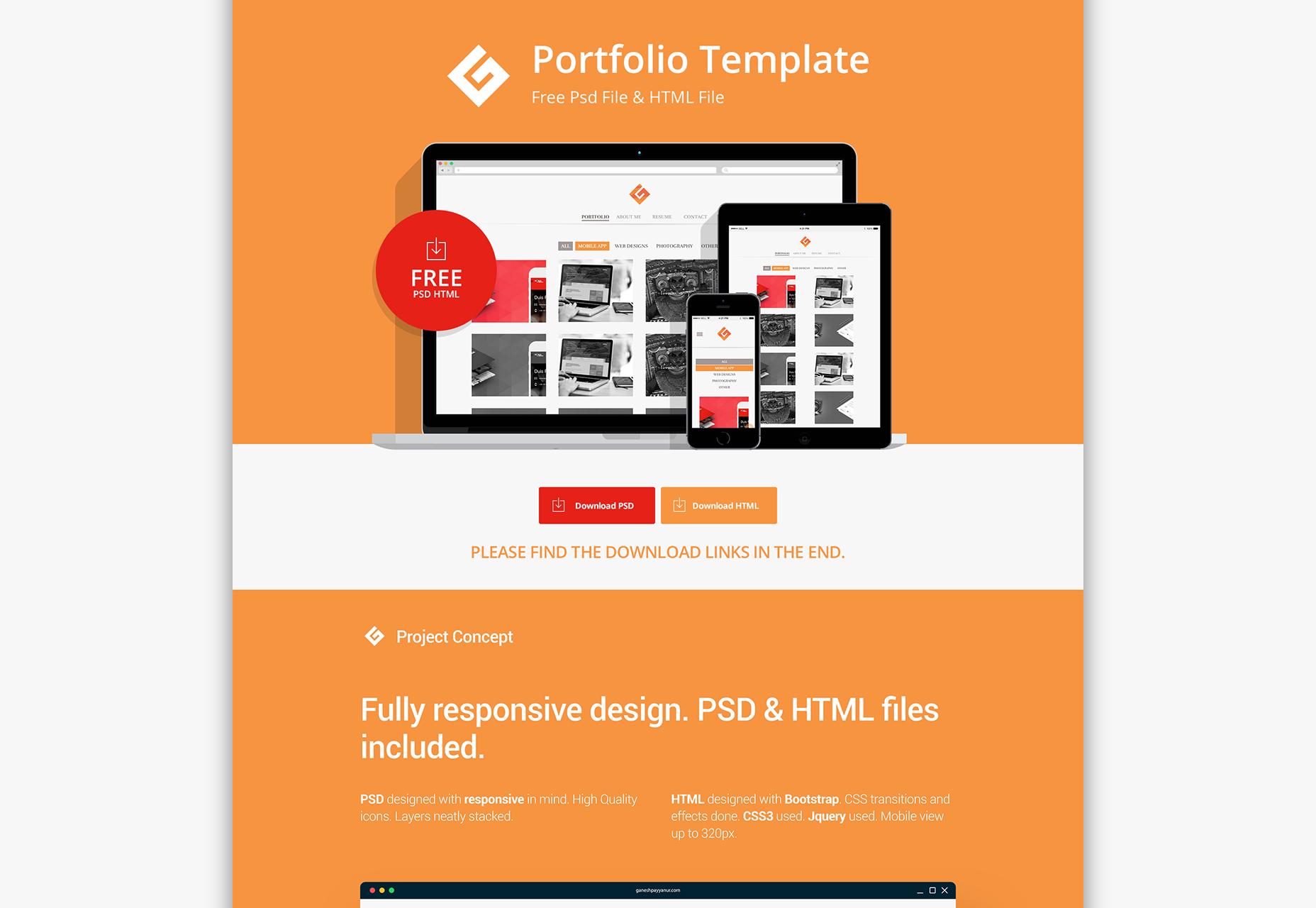 Flat Portfolio PSD & HTML Template