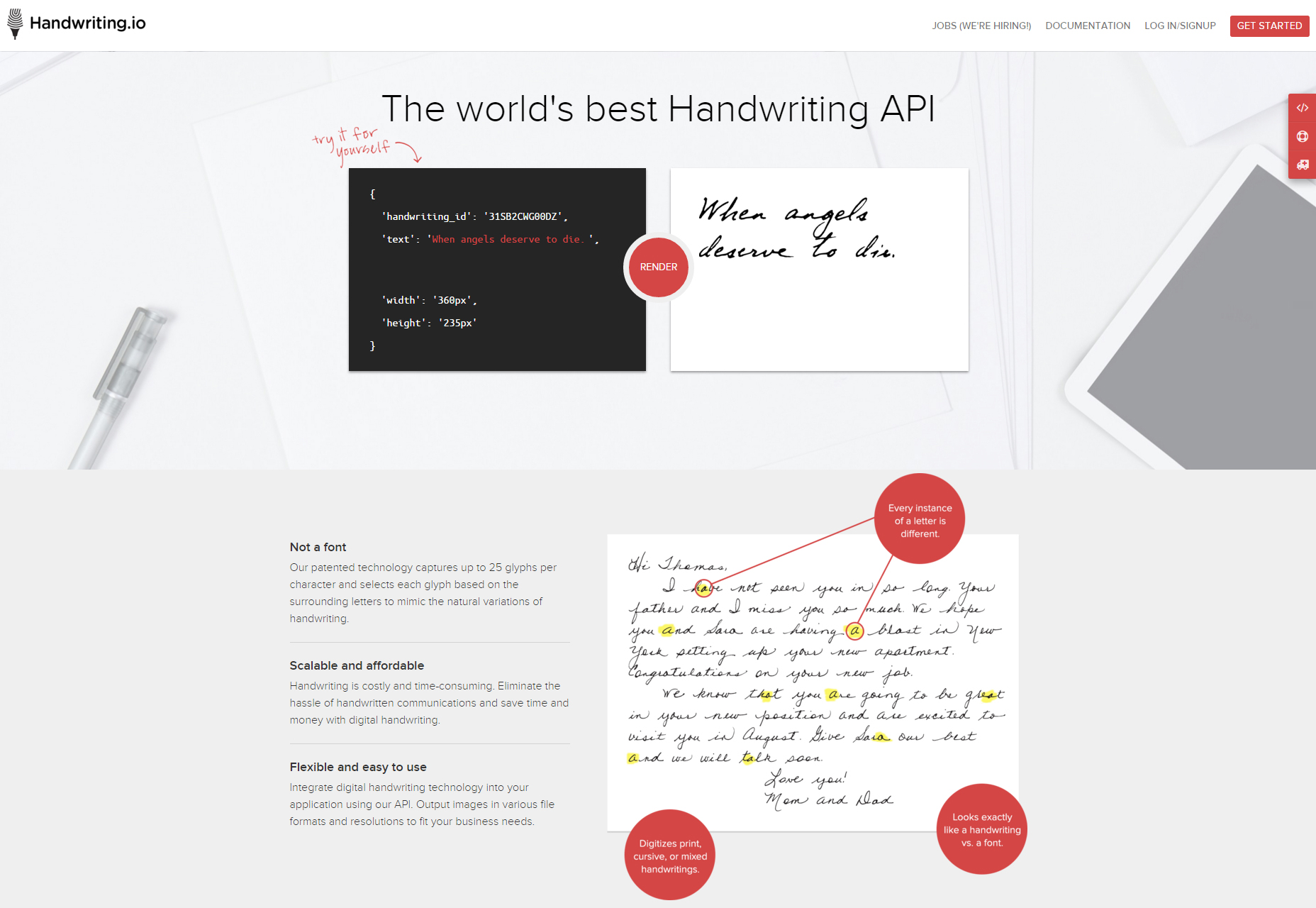 Handwriting.io: Realistic Looking Handwriting API