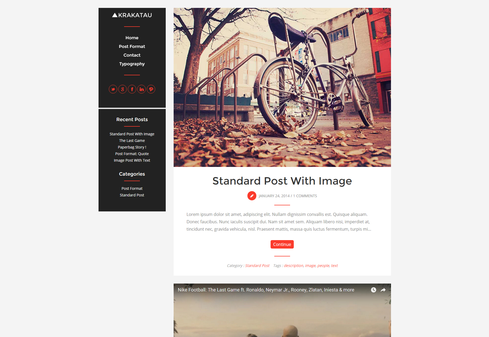 Krakatau: Modern & Clean Blogging WordPress Theme