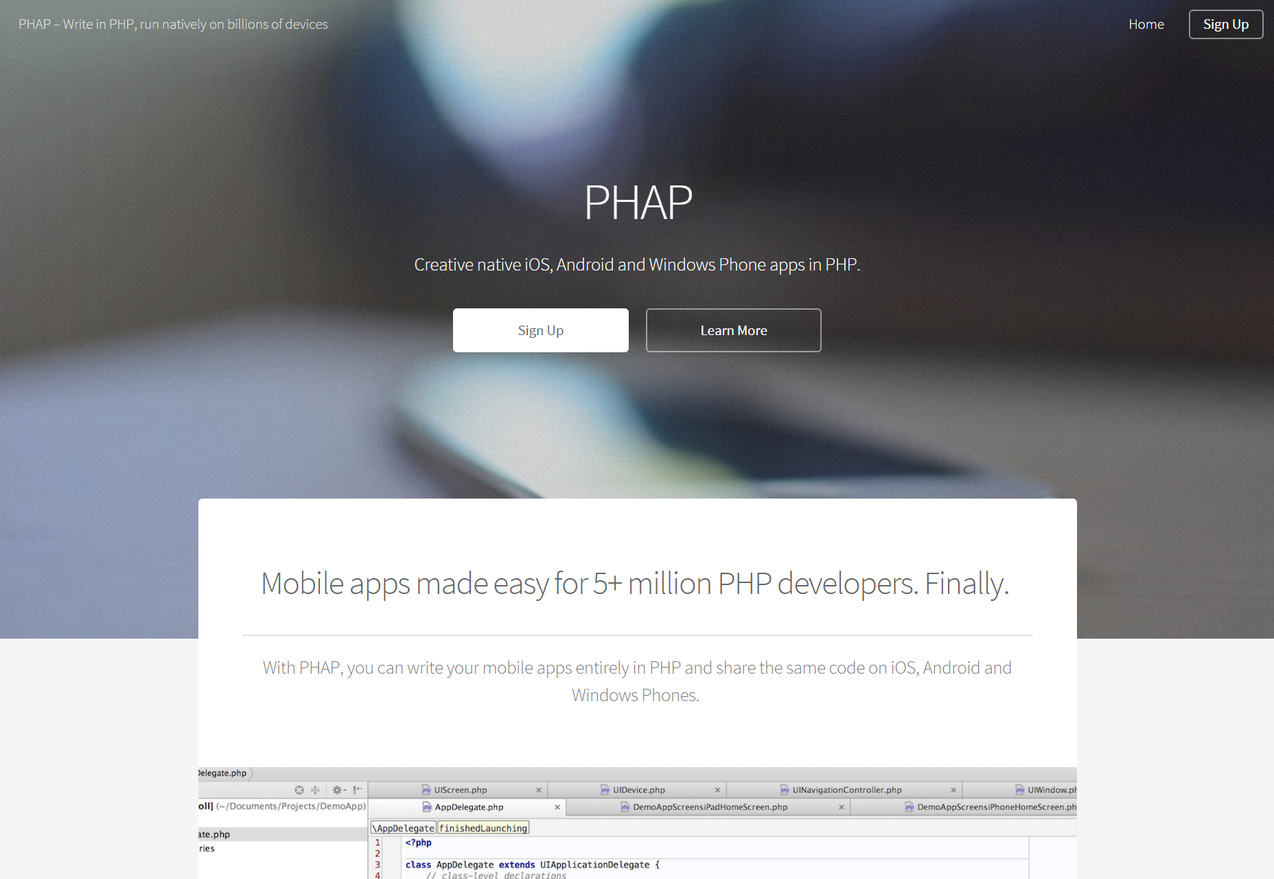 PHAP: Mobile App Development in PHP