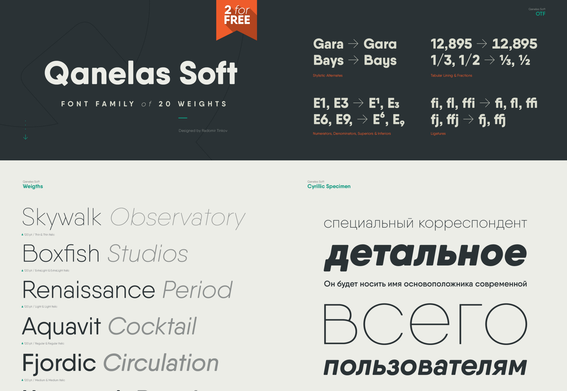 Qanelas: 20-Weight Soft Typeface