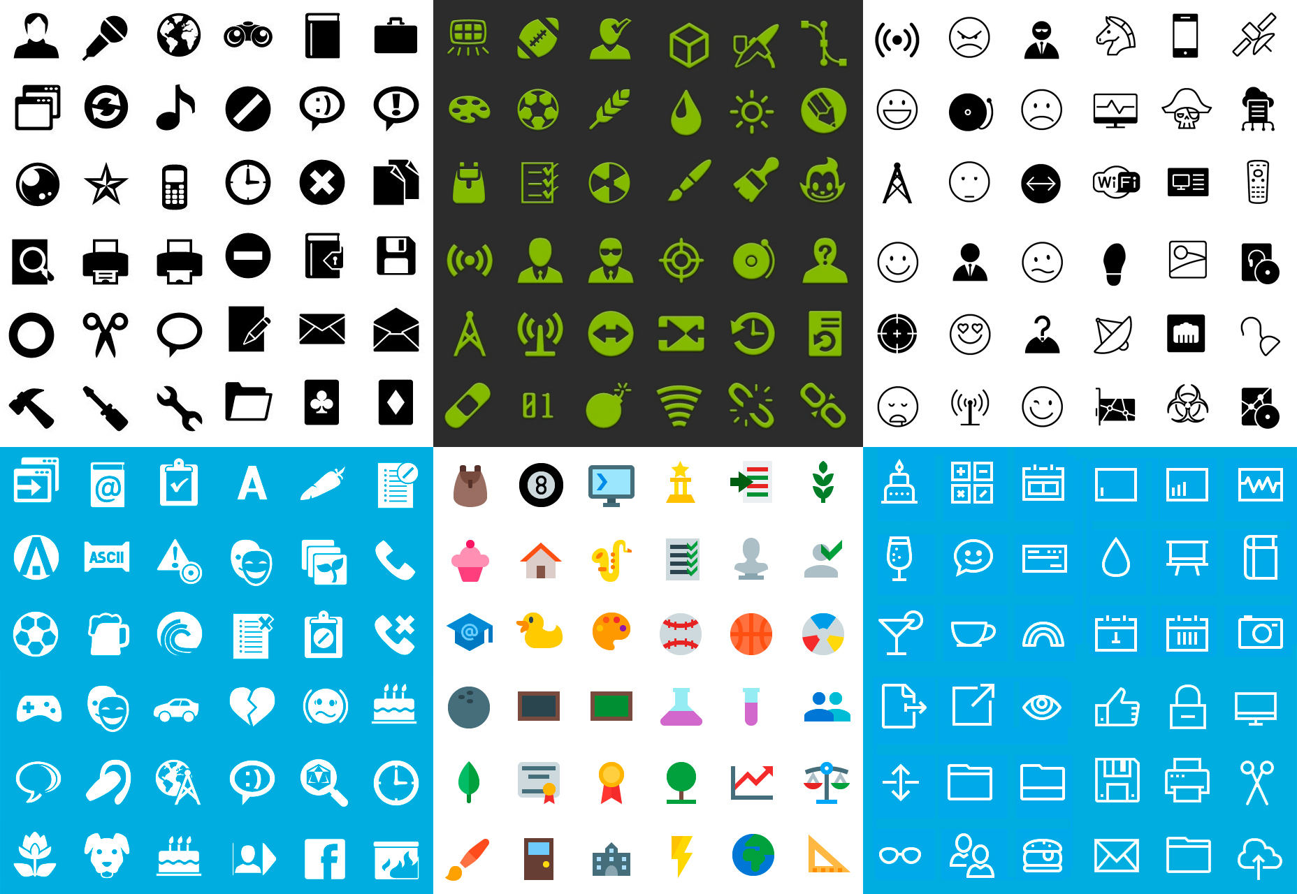 6-Style Mobile Icons Bundle