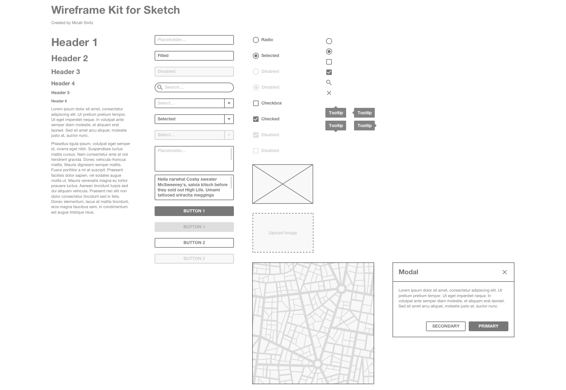 Clean & Minimal Sketch Wireframe Kit
