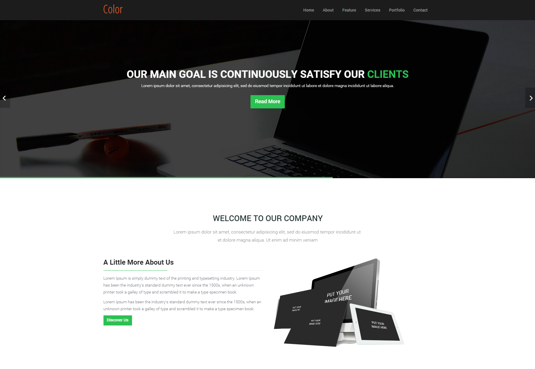 Color: HTML5 One Page Template