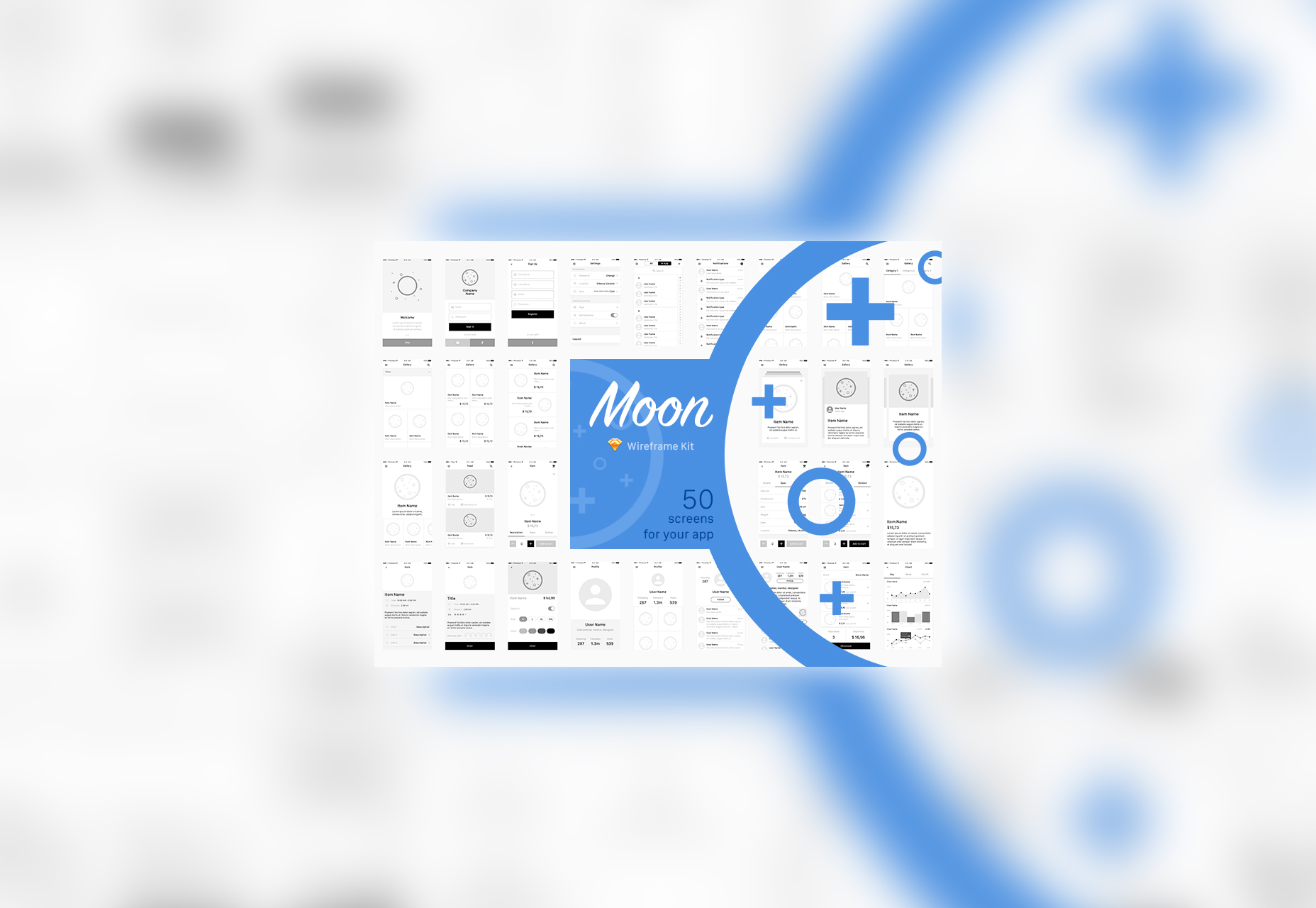 Moon: 50 Wireframe Templates Kit