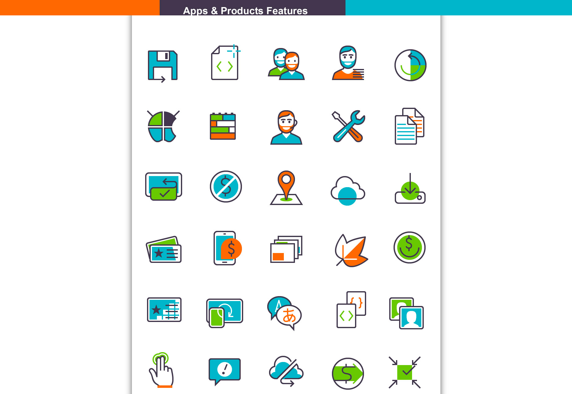 Nice Apps And Product Features Icon Set