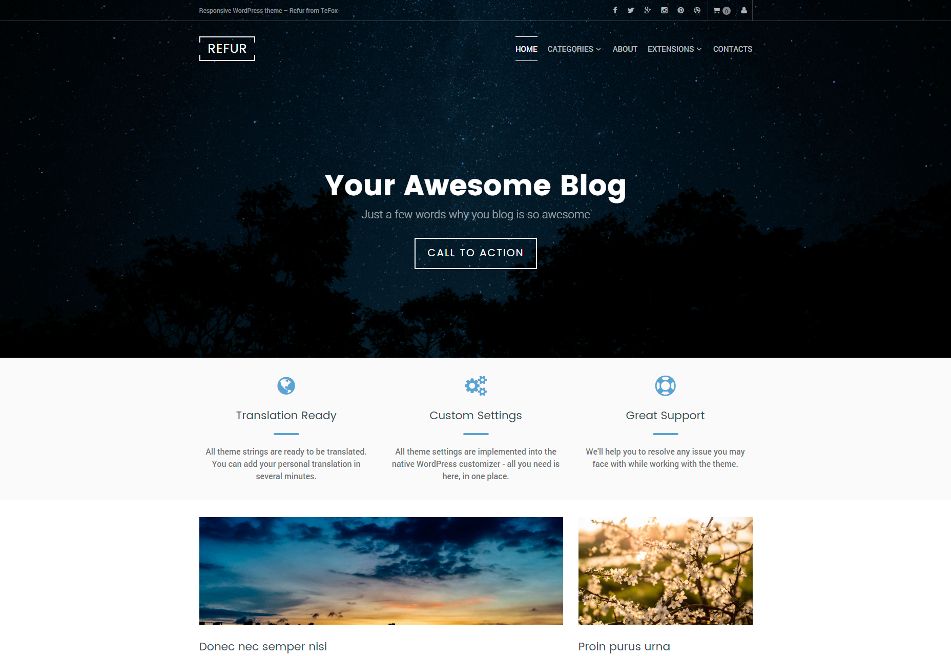 Refur: Clean & Modern Blogging WordPress Theme