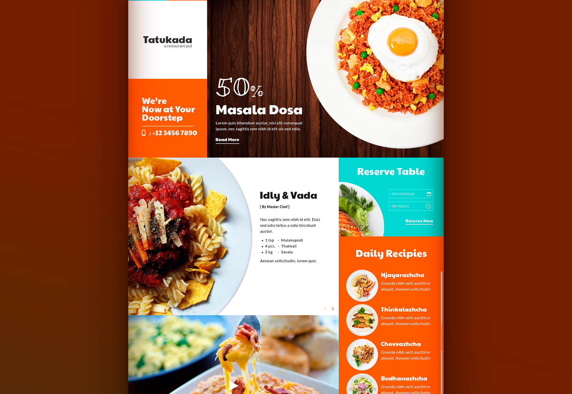Tatukada: Flat Full-screen Restaurant Web Template