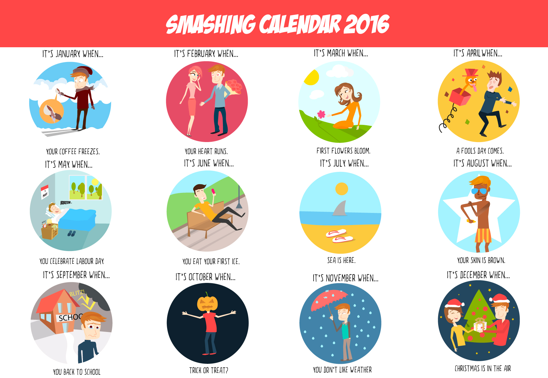 The Months Of The Year Vector Icon Set