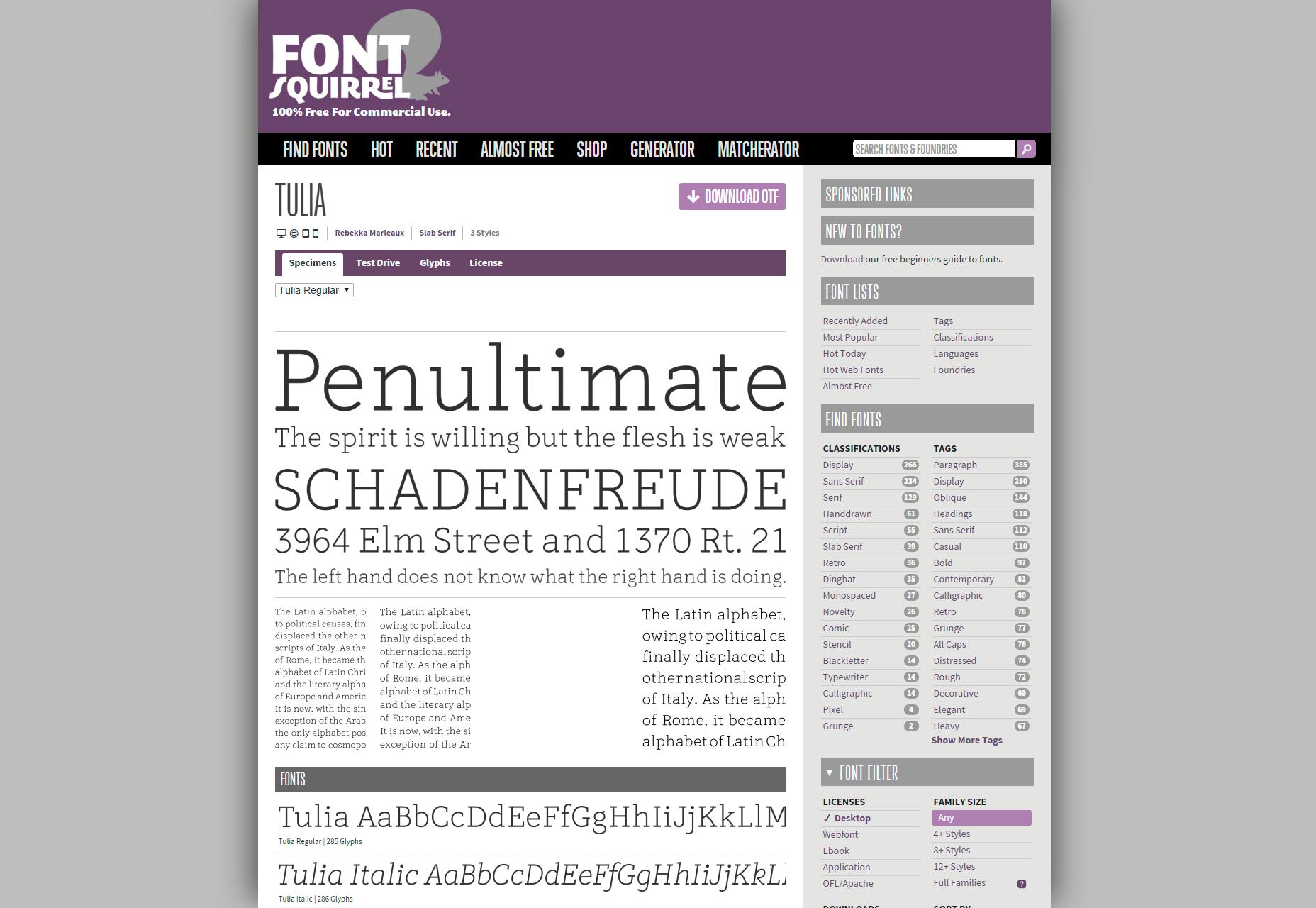 Tulia: Serif Regular Typeface