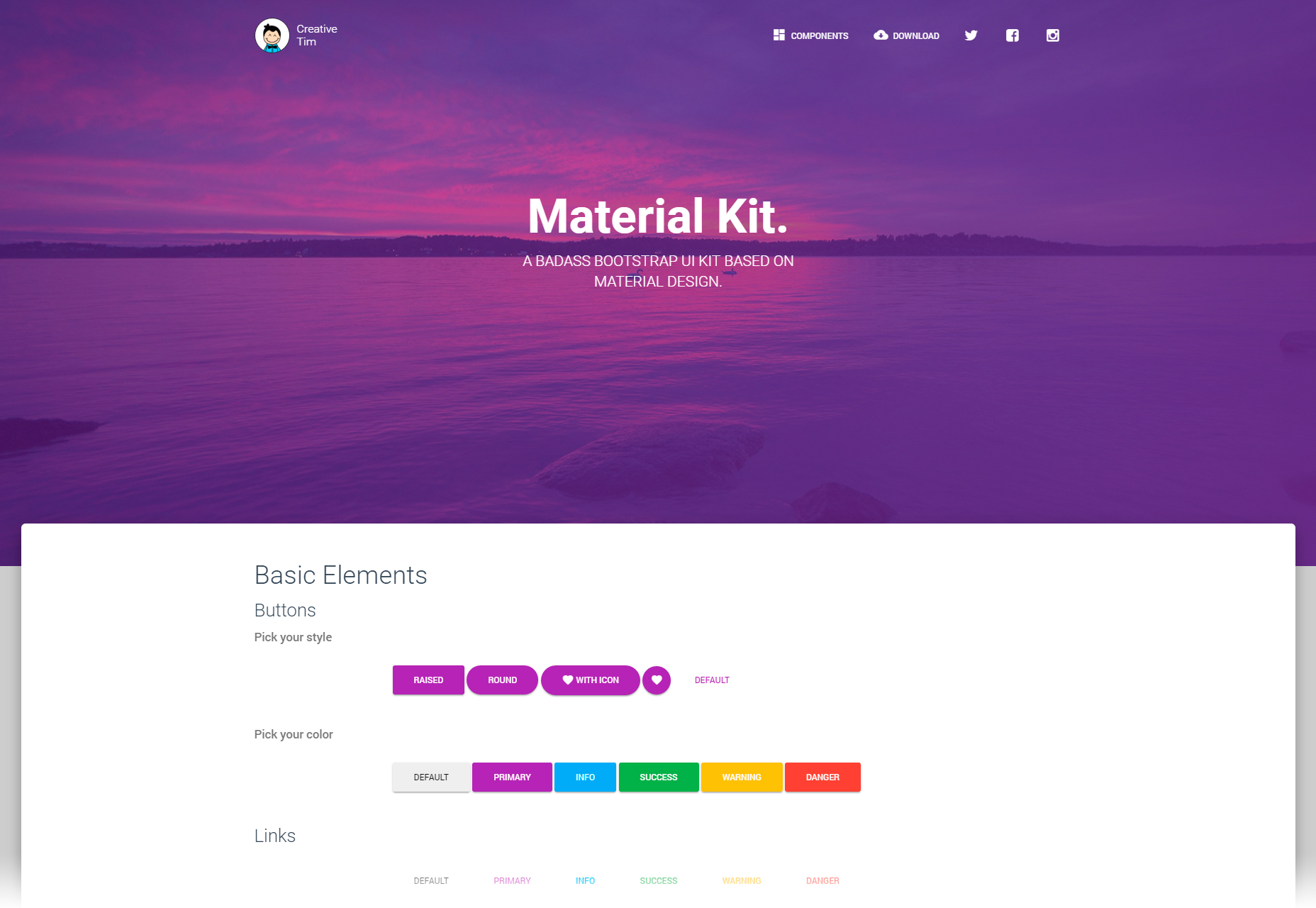 Material Design Style Bootstrap 3 UI Kit