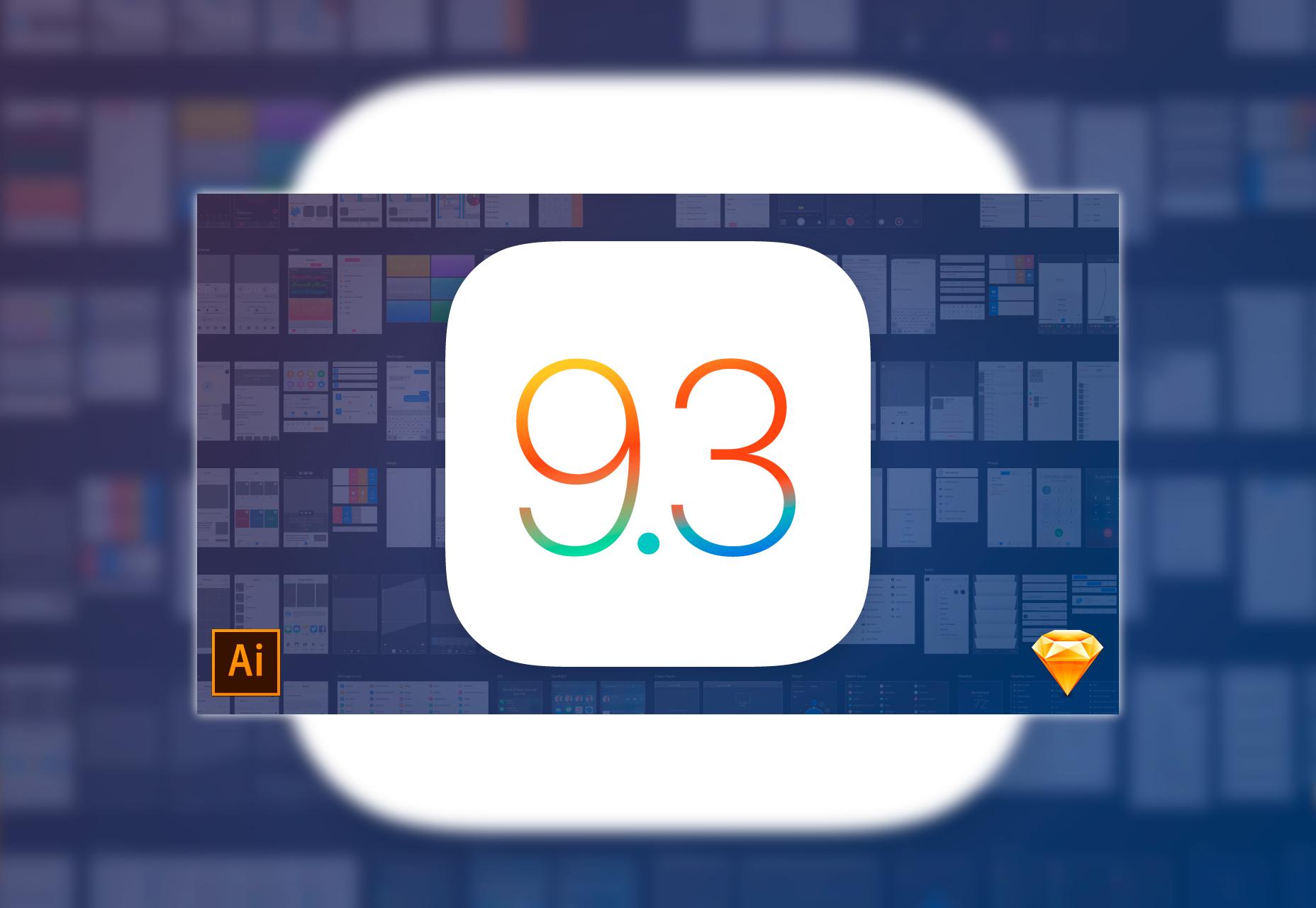 Mercury: iOS 9.3 Sketch & Ai UI Kit