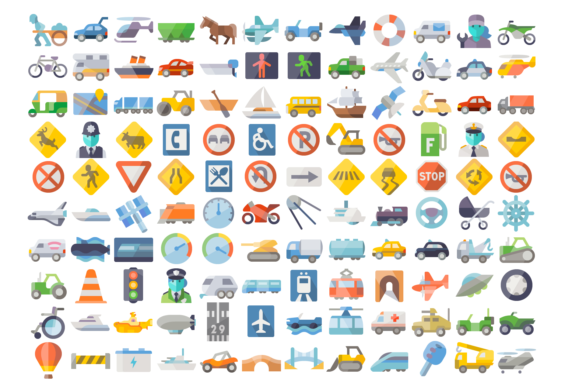 Neat Flat Transportation Vector Icons