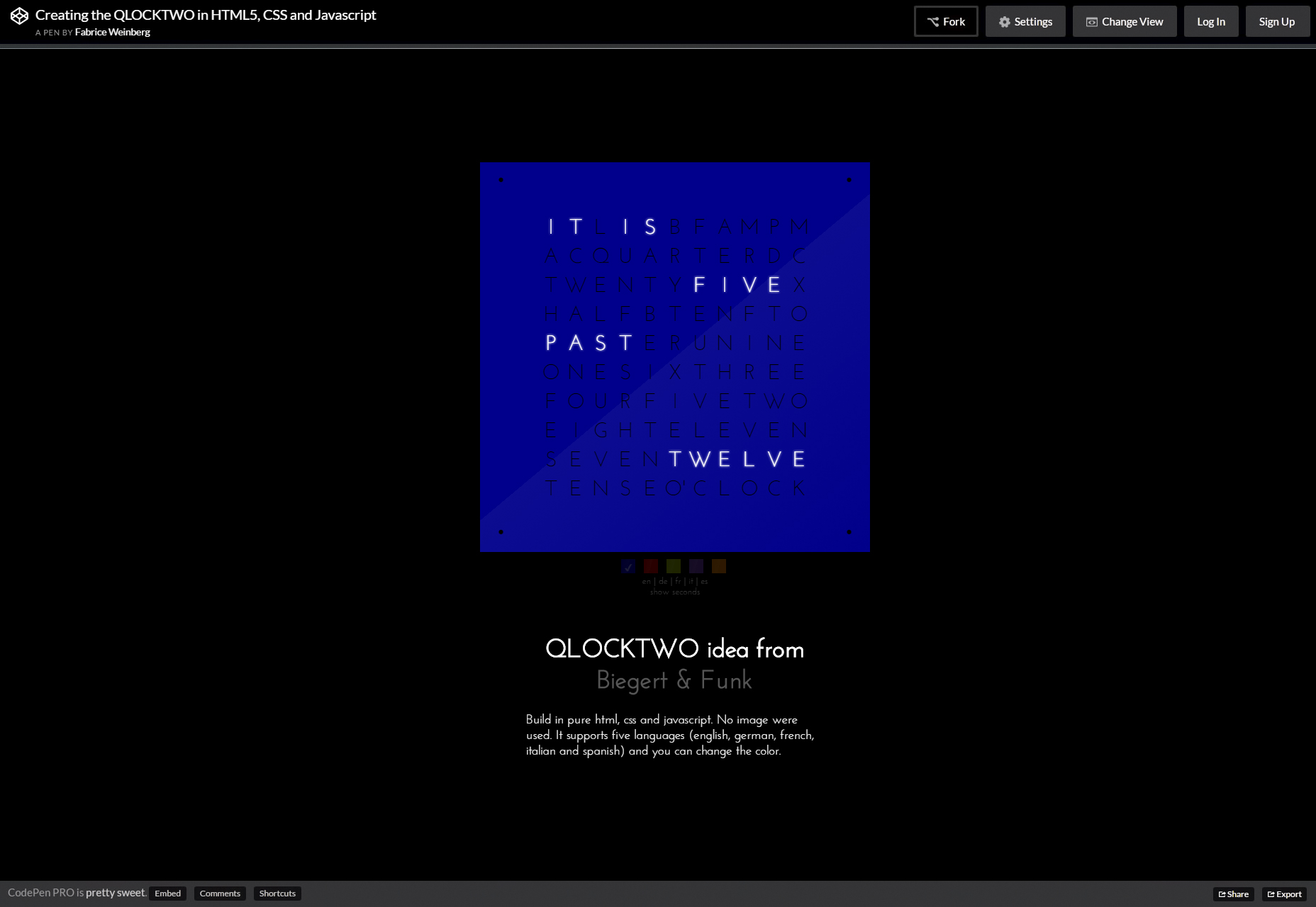QLOCKTWO: CSS & JS Time-telling Clock
