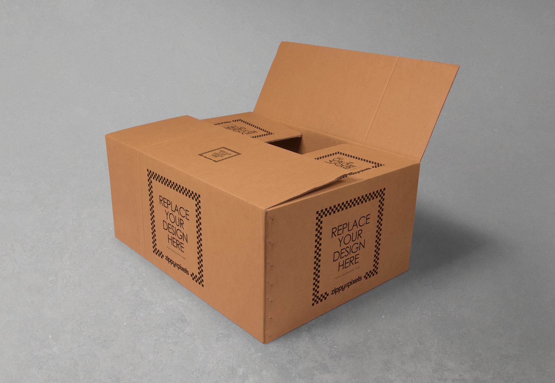 Cool Cardboard Box Branding Mockup