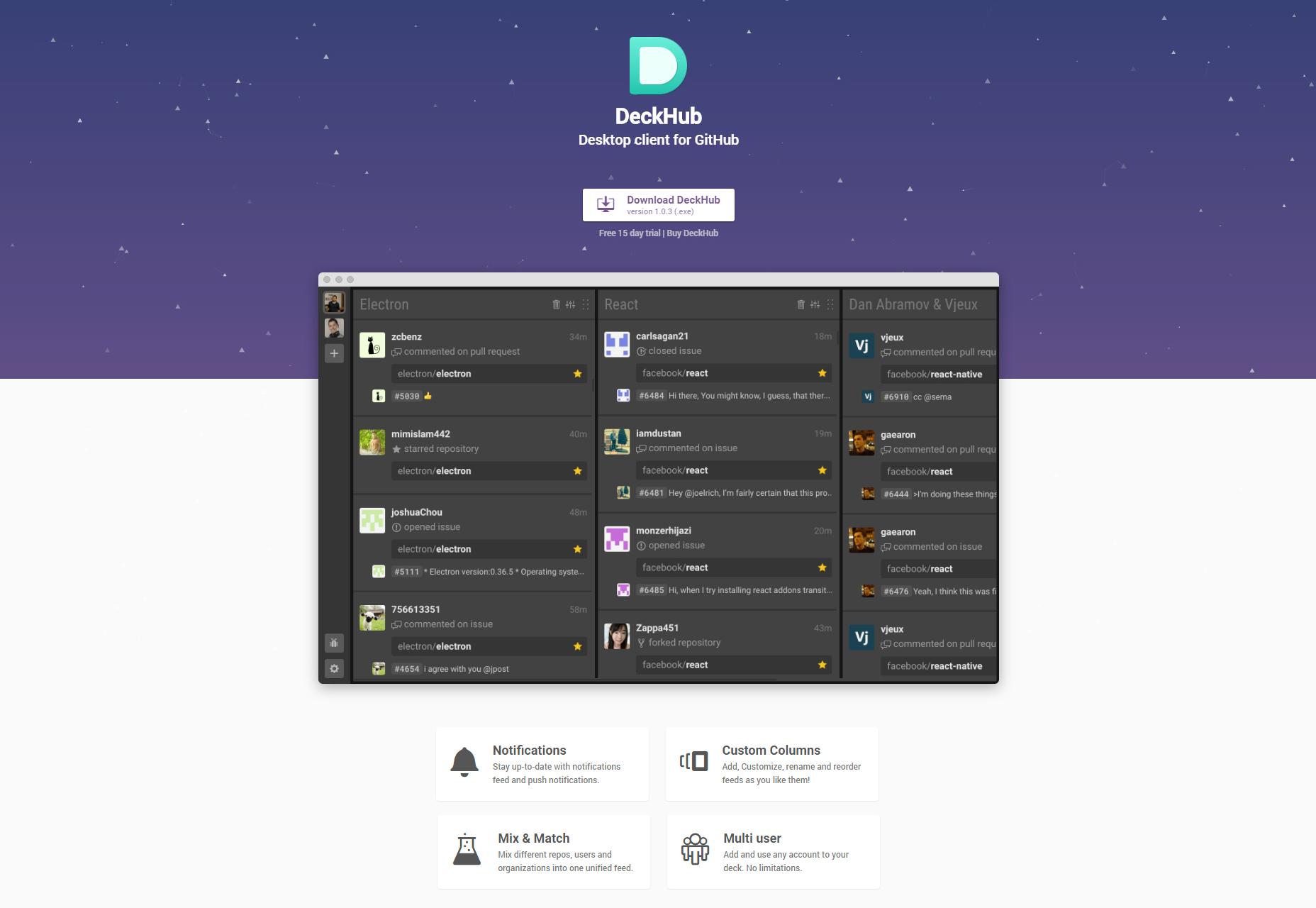 DeckHub: Desktop Client for GitHub